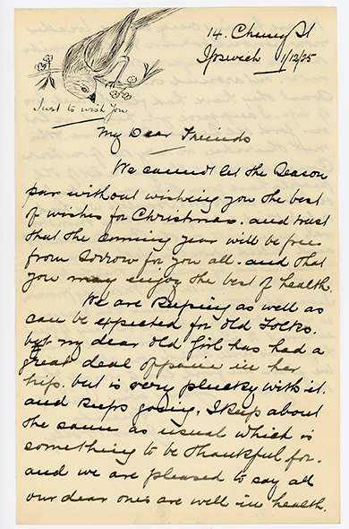 Notice the lovely hand drawn bird at the top of this letter? Beautiful!