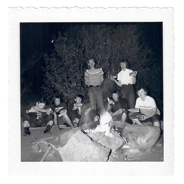 Me: This is from the same batch as the MIA Dance Festival, recognize anyone?⠀ Dad: I think the girl standing in the white shirt holding the watermelon is Connie, my dance partner, but I can't identify the event. ⠀ Me: Were you camping? ⠀ Dad: We we're not camping I can guarantee you. Boys & girls just didn't go camping at that age. ⠀ Me: Not at age 20? ⠀ Dad: Absolutely not. The people in the dance festival in my group were all adults. These are just young friends at some kind of a campfire. I've looked at it and looked at it and I can't identify them. I must have taken the photo though. Must be some of the kids I went to college with at University of Utah...maybe it will come to me...yeah, that's Connie. When I came back from my mission she was married. ⠀ Me: Oh, you dated Connie? ⠀ Dad: Yes, we dated, but I wasn't a romantic kind of person. I don't think it was a serious thing, at least not from my point of view. ⠀ Me: Did you ask her to wait for you 'til you returned from your mission?⠀ Dad: No, I didn't ask anybody to wait for me. She's the girl that gave me the cufflinks for Chi Omega sorority. Her brother and I were in the same class. We all went to High School together at Granite. Her mom and dad knew my mom and dad and her dad was a contractor I think, probably worked with my dad on some jobs. She was a very bright, lovely, talented girl. Connie will be in my yearbook, and so will her brother. When I saw him at the last reunion I asked about Connie and he said she had a very good partner but I don't know whether she is dead or alive and we didn't talk about that then and there won't be any more High School reunions we are all too old and too dead. ⠀ .⠀ Campfire Photos: June 1950 - Salt Lake City, Utah (or somewhere nearby)⠀
