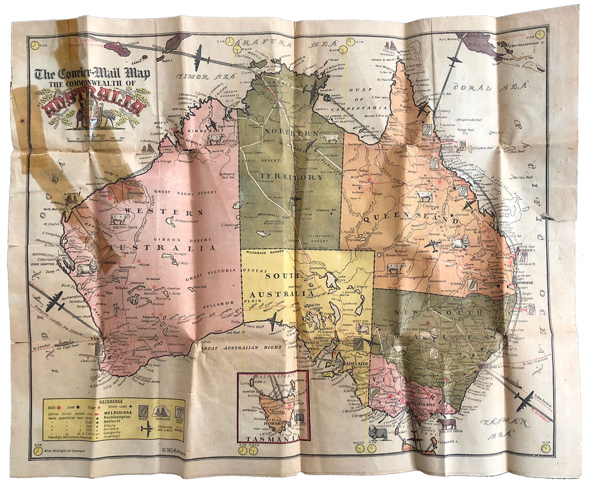The Courier-Mail Map of the Commonwealth of Australia, Monday February 26, 1945. Note the key in the left corner and the livestock pictured throughout. Incredible!