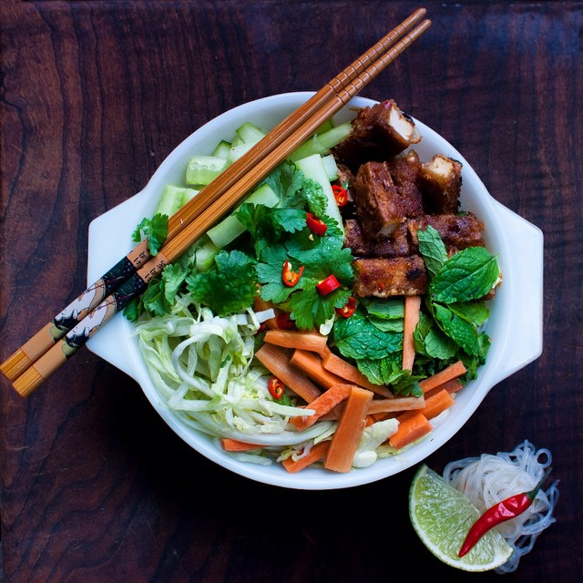 [New Blog Post!] #Vietnamese #Noodles with #Peanut Sauce #Tofu (Bún). #Easy #Healthy and #Delicious! See profile link for recipe and more photos!