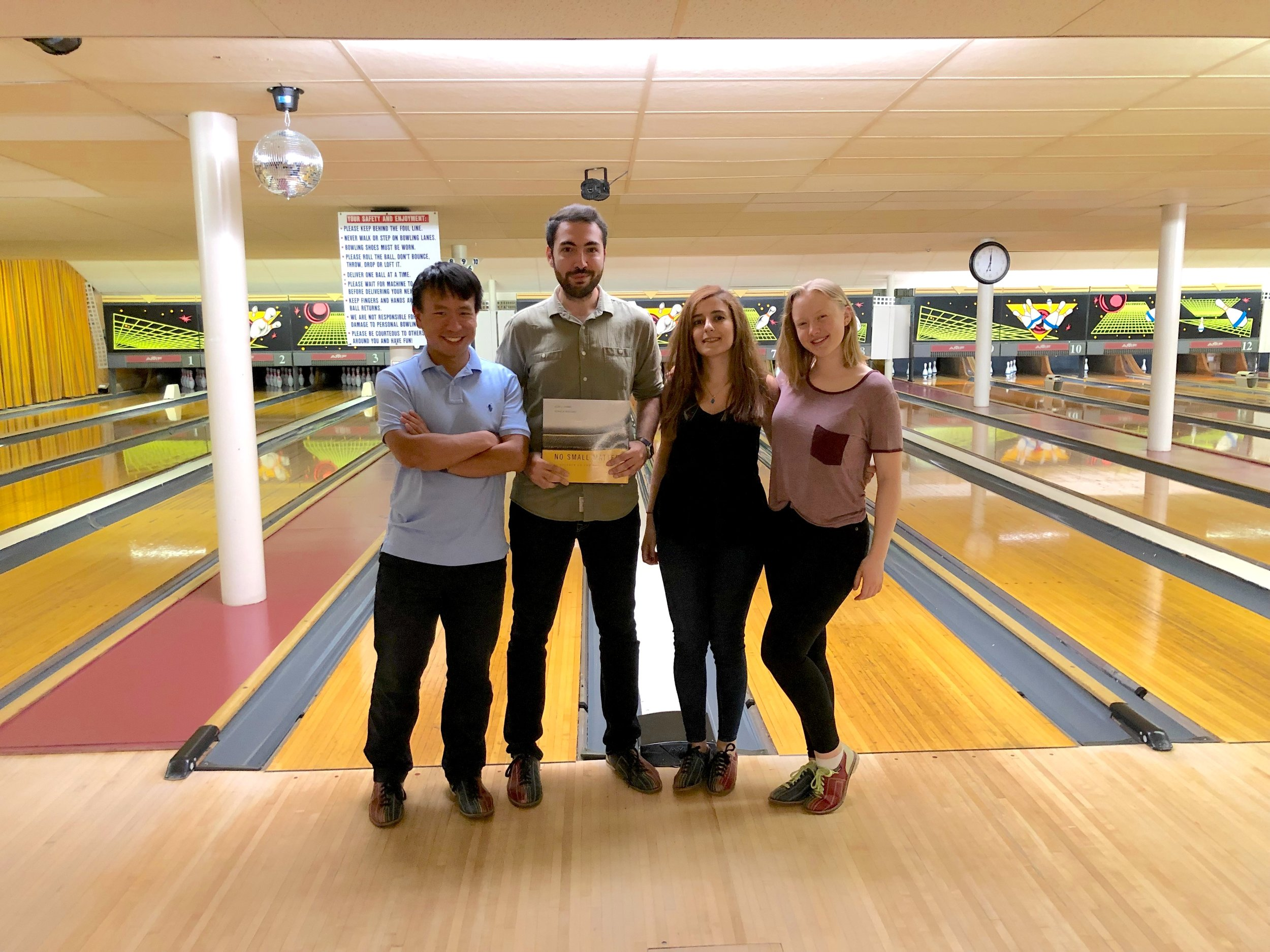 Congratulations to Ashkan for winning the lab bowling tournament! (August, 2019)