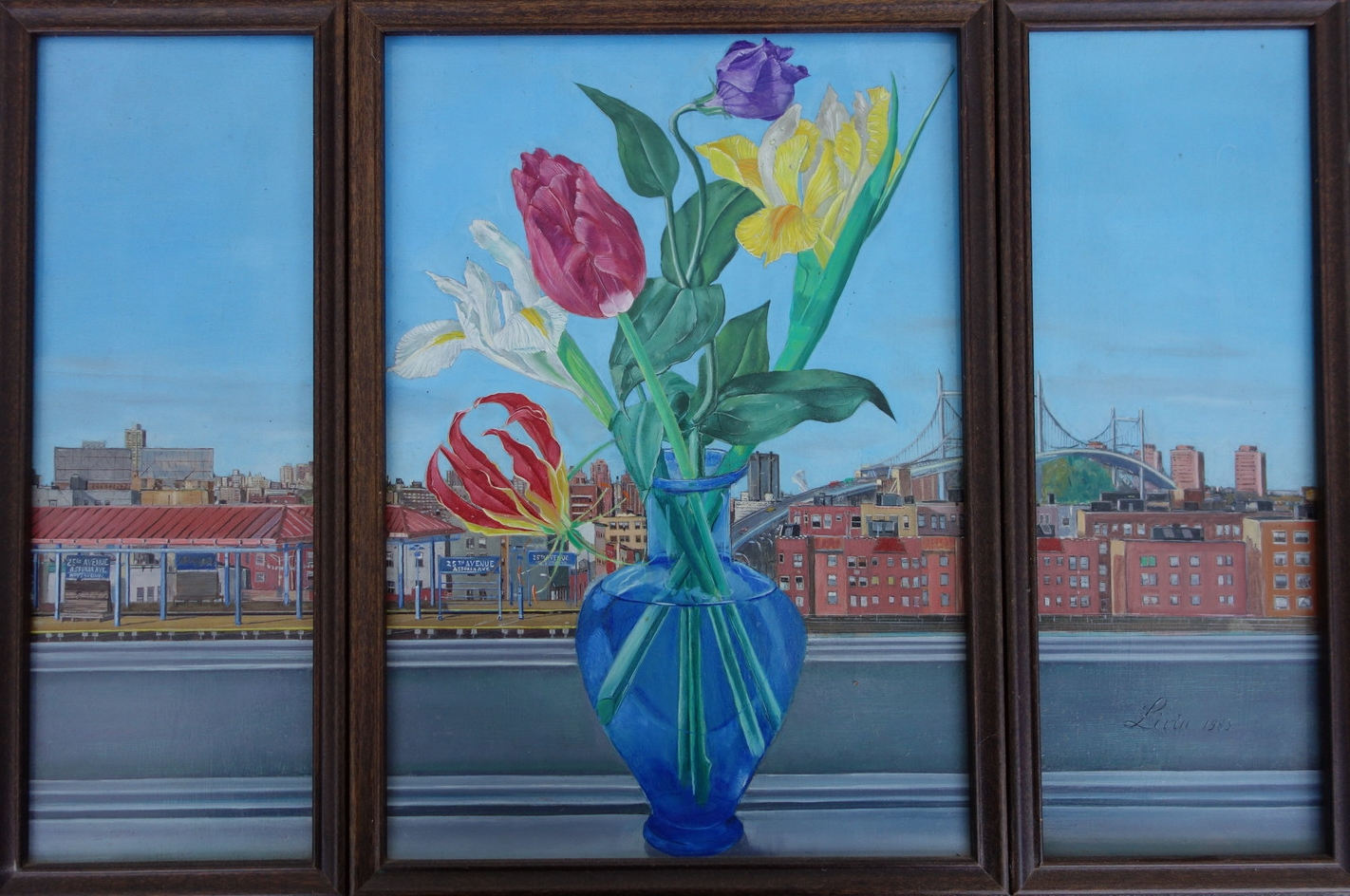 """Triptych - Flowers on Window sill.View from my apartment in NY. At the Cloisters in NY there is at least one medieval triptych painting that I like, so this is my way of doing something along those lines.    1983    Oils on Masonite, 14"""" x 22"""""""
