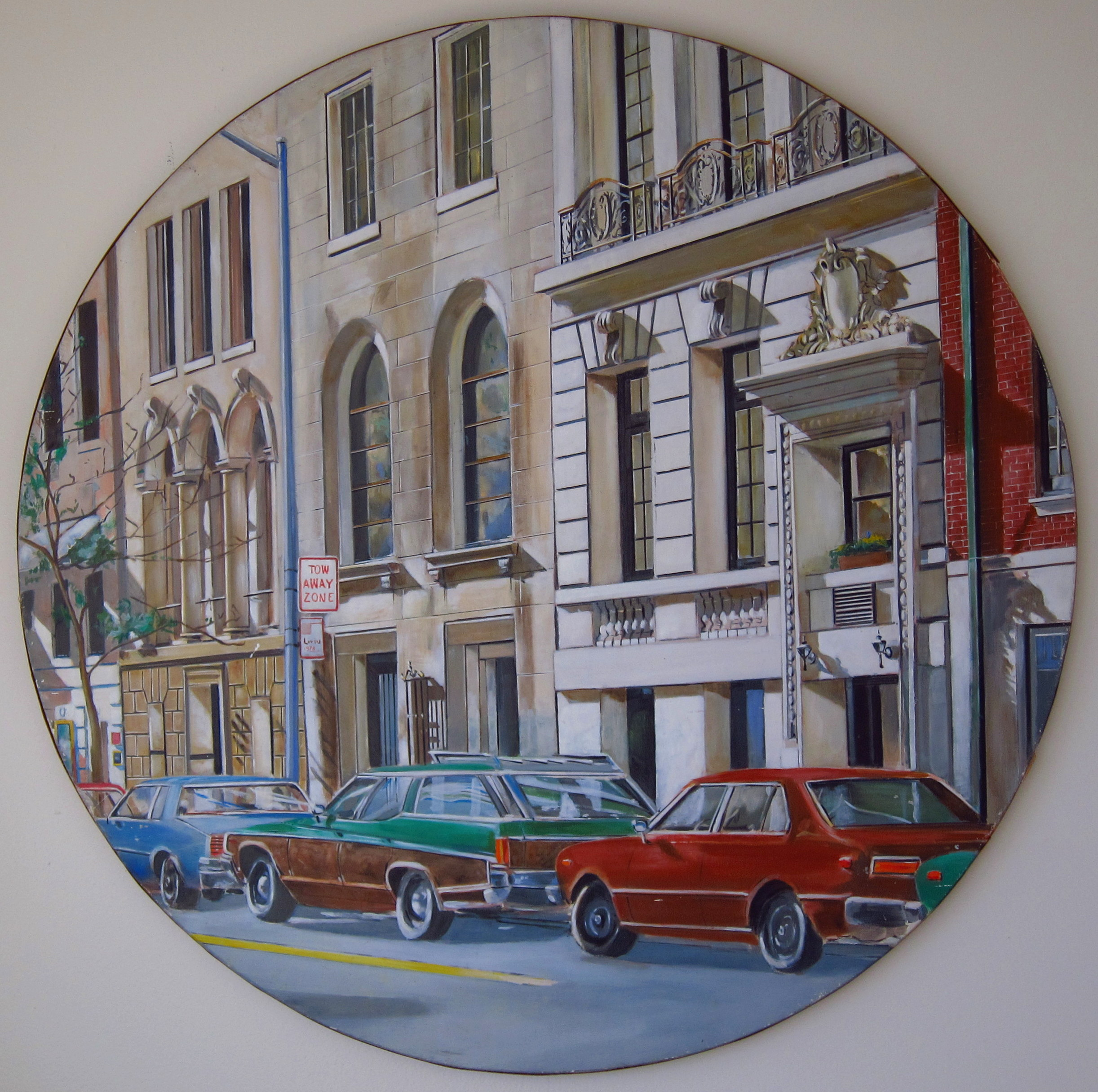 """New York, 64thSt. Between 5th and Madison       1983      Oils on Wood, Diameter 36"""""""