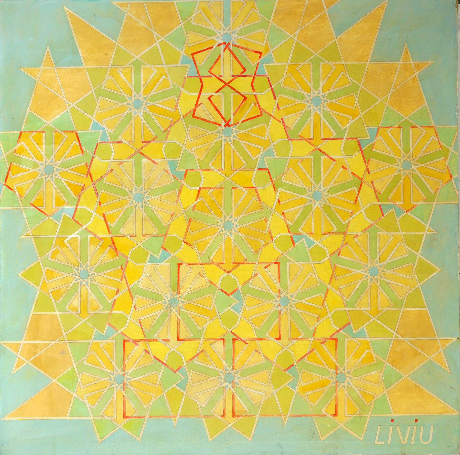 Oils on canvass, 1977. 5 feet by 5 feet.  This is about a circle divided in 5 parts and the patterns that can emerge.