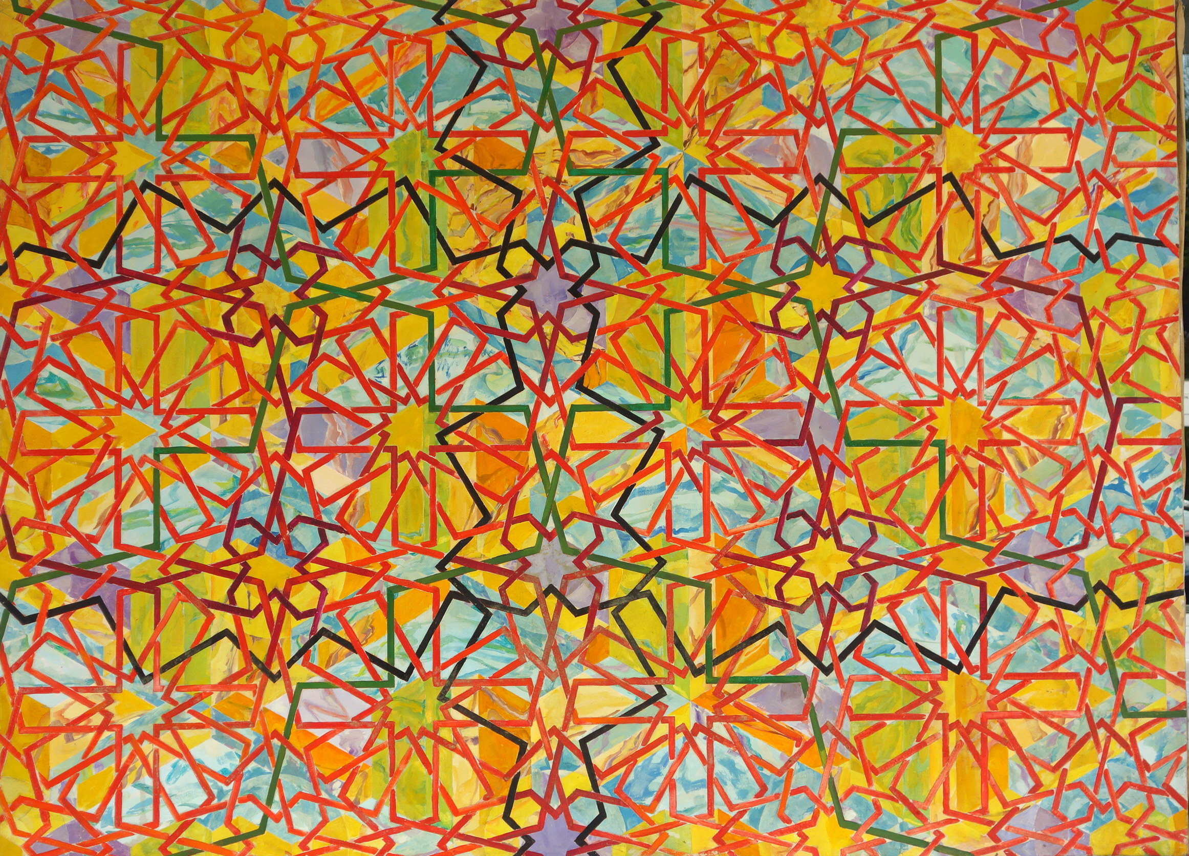 1978, oils on canvass. This is about 4 feet by 6 feet. There are a few things going on.  There are the lines that form patterns and behind it there are colors which form other patterns.