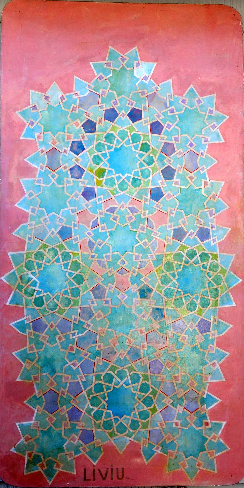 """Geometric figure. 1978, Oils on canvass.  37""""x75. Notes: There are circles 12 12 sides and circles with 9 sides and notice a six figure side in the center.  if you follow the white lines patterns emerge, if you concentrate on the colors other patterns emerge."""