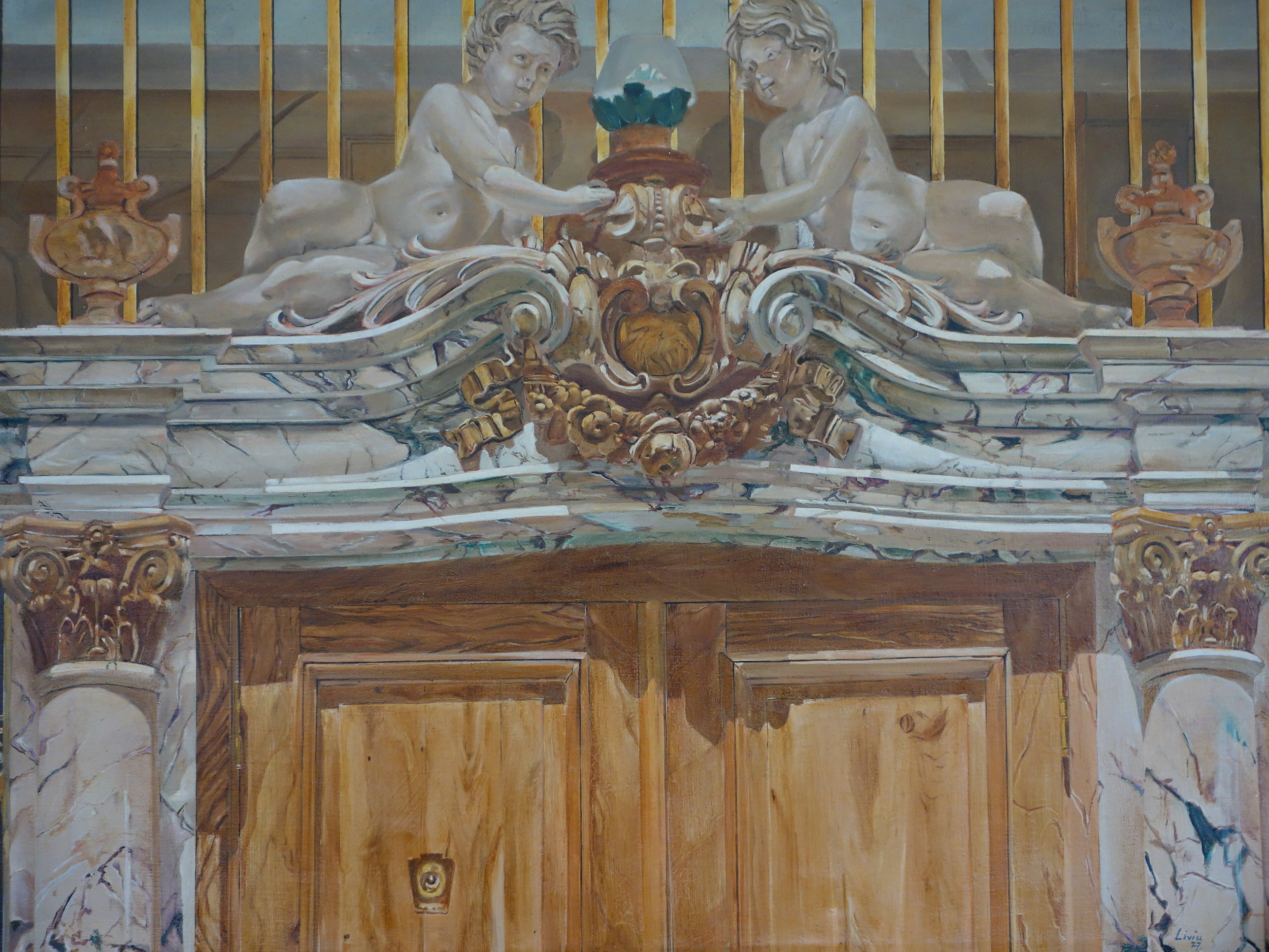 """Entrance to Polish Embassy. 36th Street, NY      1981      Oils on canvas, 36"""" x 52"""""""