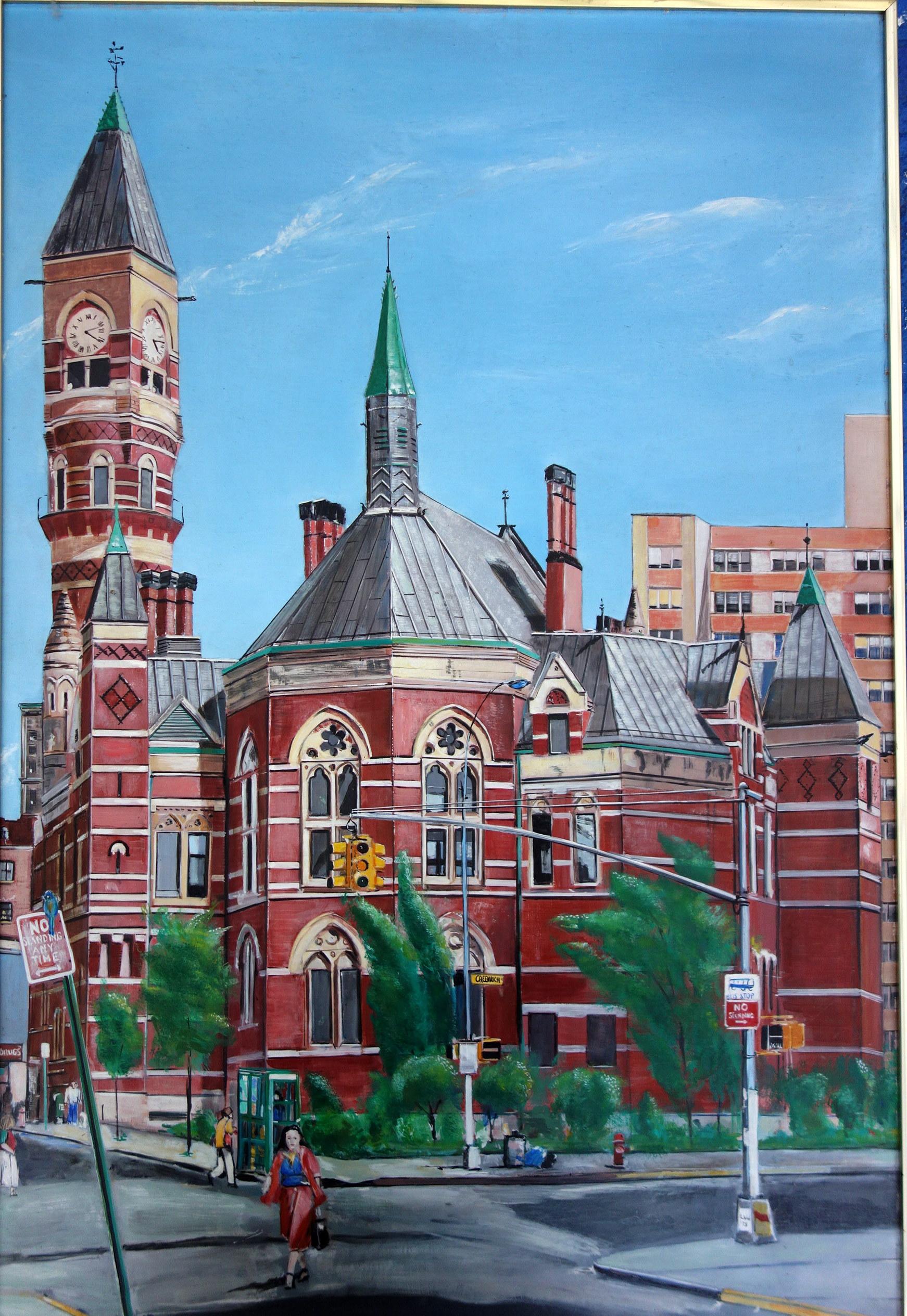 "Jefferson Market Library, 425 Avenue of the Americas, NY      1983      Oils on Masonite, 24""x36"""