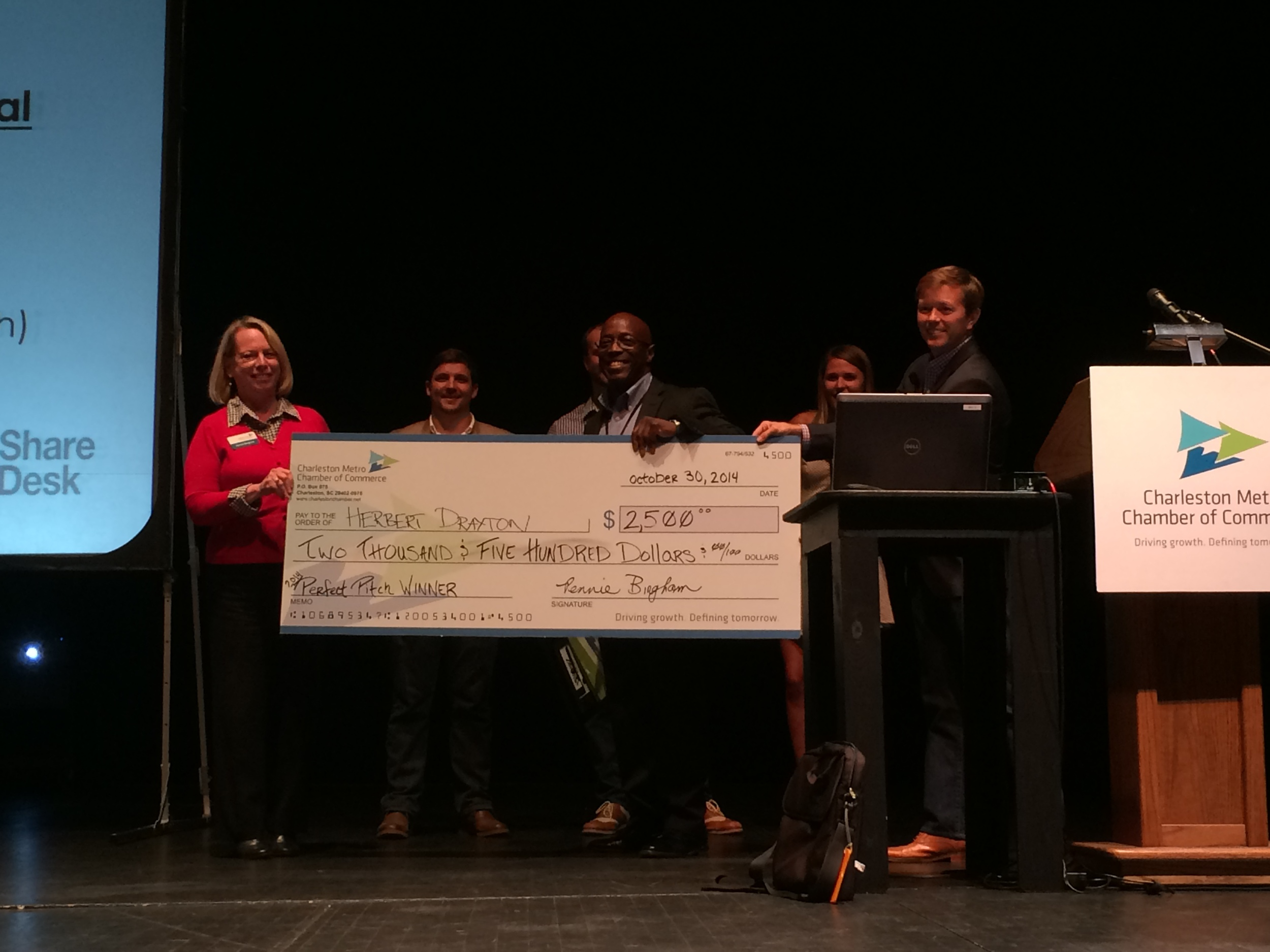 Herbert Drayton (OpsAssure) winning the 1st place prize at Perfect Pitch competition
