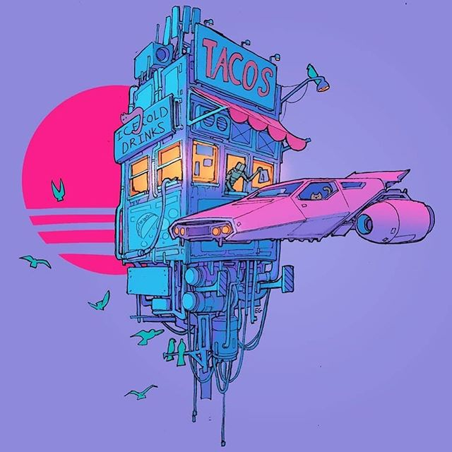 Amazing #art by @spacegooose Swipe for a closer look.  I wonder if tacos will still be a thing 1,000 years from now... #spacetacos . . . . . . . #thematterathand #future #foodporn #tacothursday #riverrock #podcast #extraordinaire #design #repost #catsinspace #tacotuesday #surreal #weird