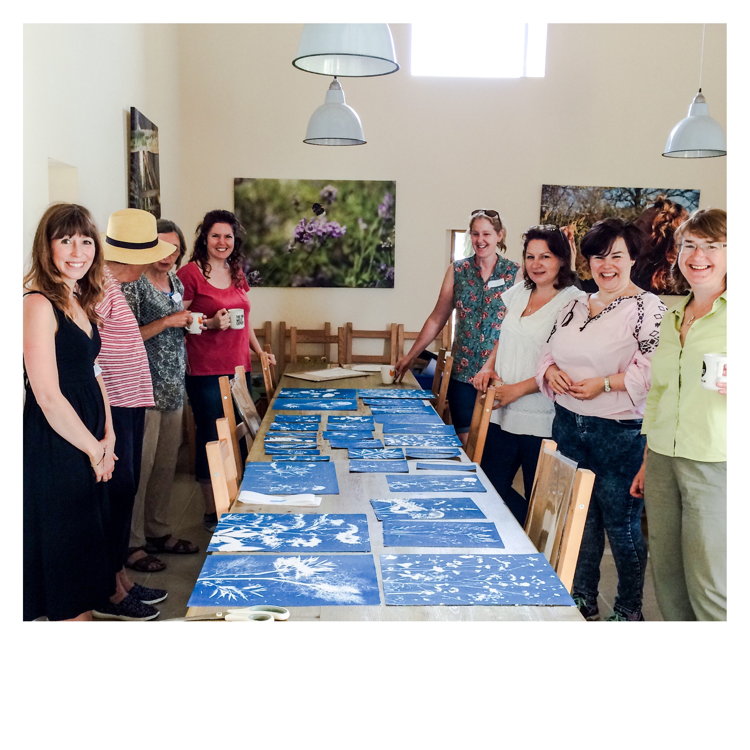 Last years participants in the the Summer Workshop, showing fantastic range of work after a mornings printmaking.