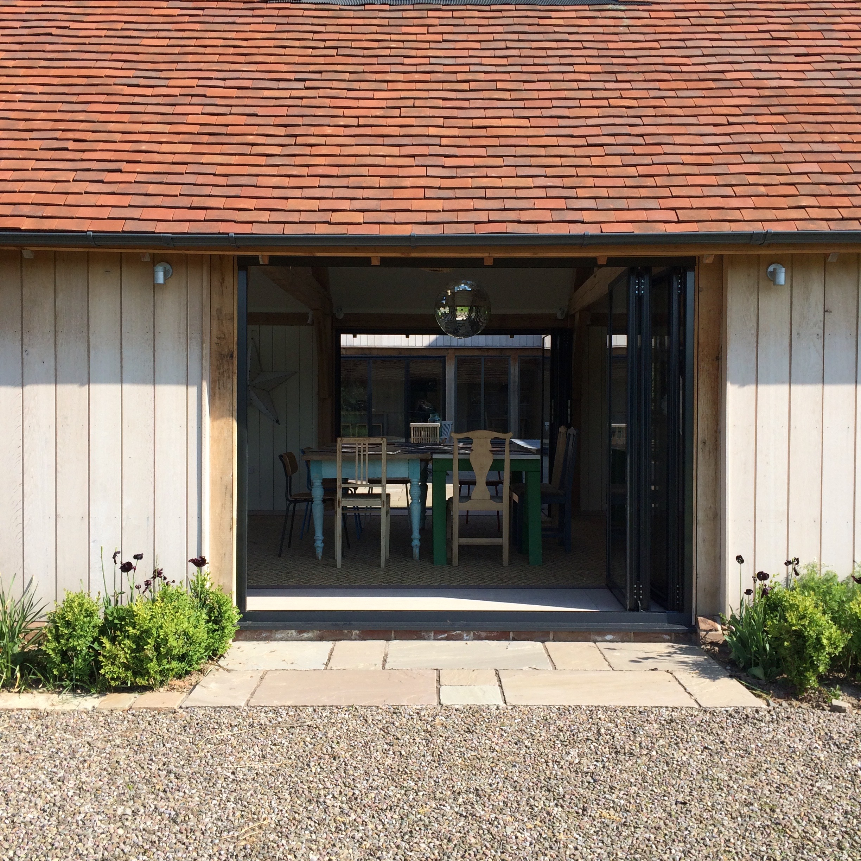 Exterior shot of the workshop space at Meadowmead, Eardisland.