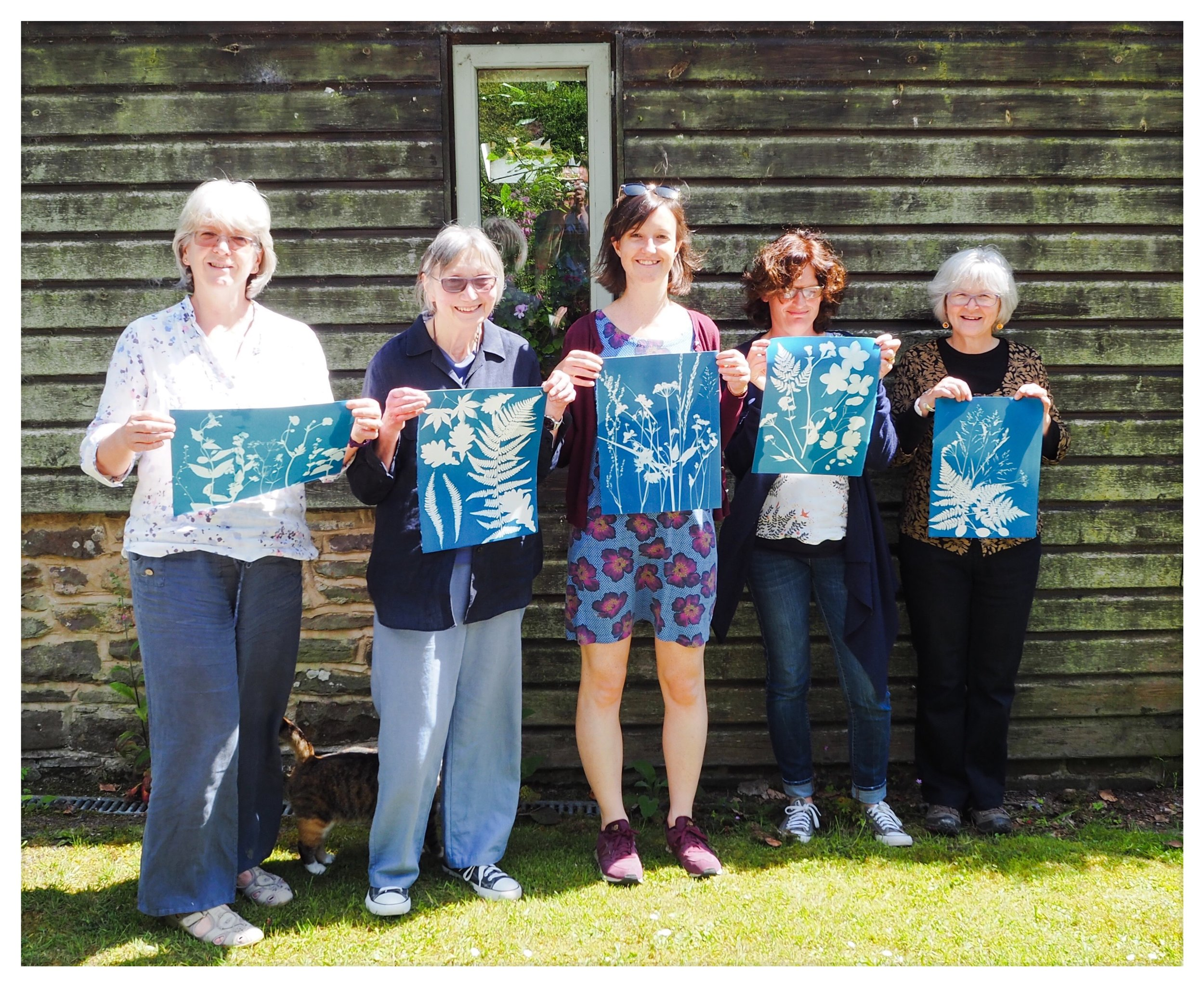Students with their work from the sun drenched Mid Summer Workshop at Nant y Bedd.