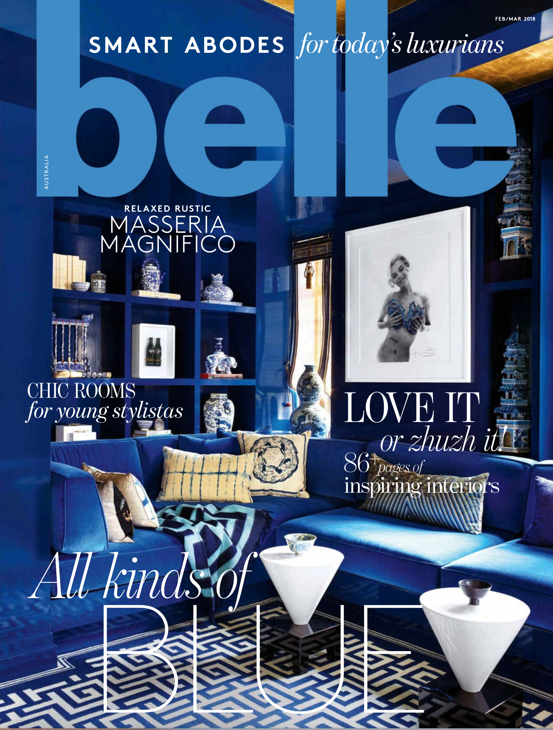 Belle Magazine Feb/March 2018 - Curatorial and Co Home by Arent & Pyke. Styling by Meredith Clark