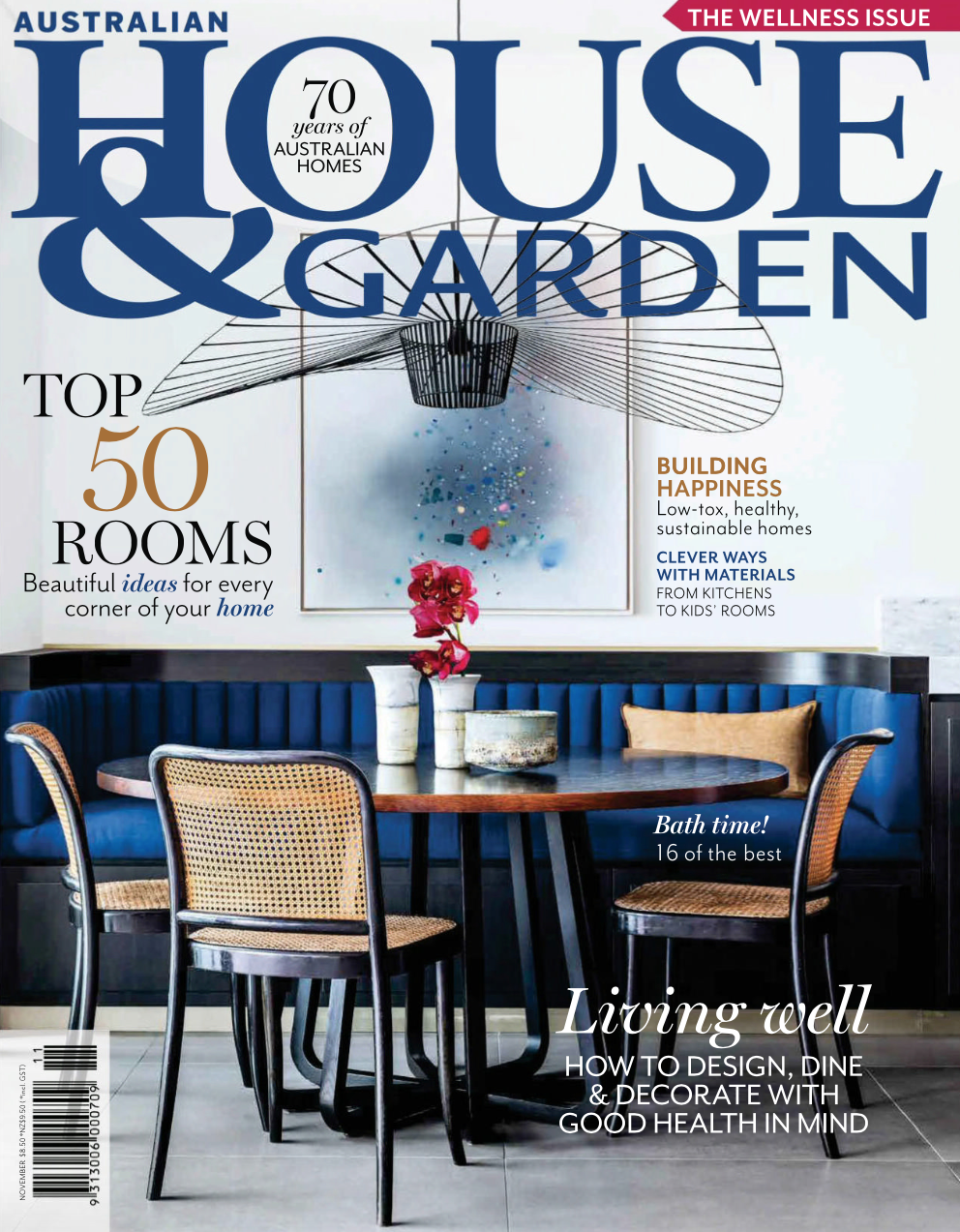 House and Garden Nov 2018 - Cover image - project by Alexandra Kidd styling Claire Delmar