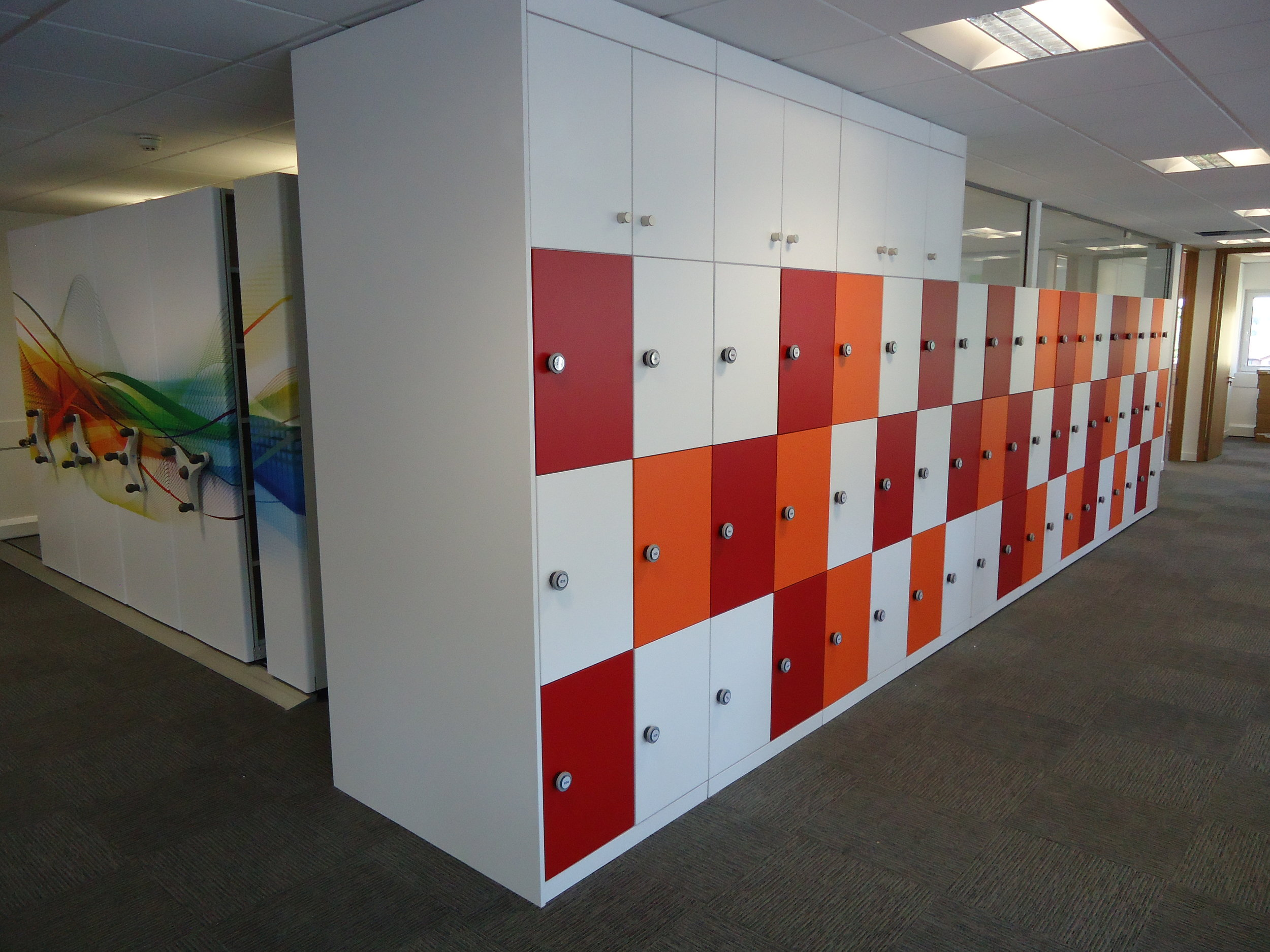 Storagewall Lockers Red and Orange