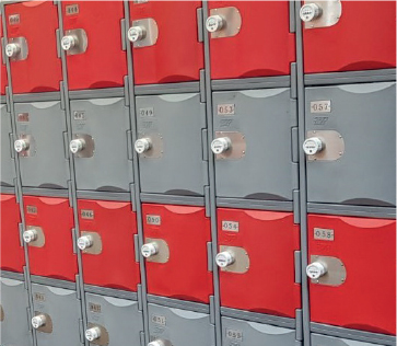 Plastic. - Environmentally Friendly • Waterproof• Antibacterial Finish • Vandal Resistant • Corrosion Proof • UV Level 8 • 10 Year Warranty.Made from recyclable high-density polyethylene making these lockers extremely strong and durable.IDEAL FOR: Bike Stores, Leisure Centres, Schools, Gyms, Hospitals & Outdoor Use.