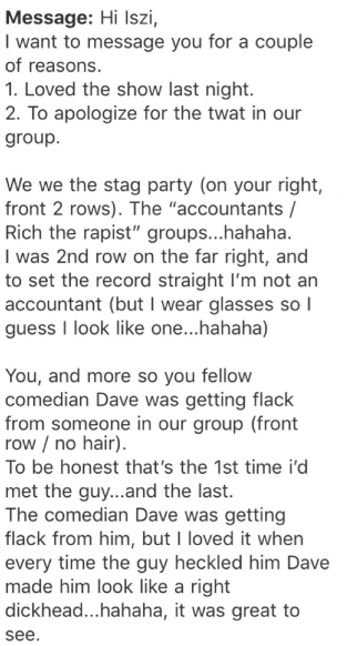 Part of the apology I recieved the next day.