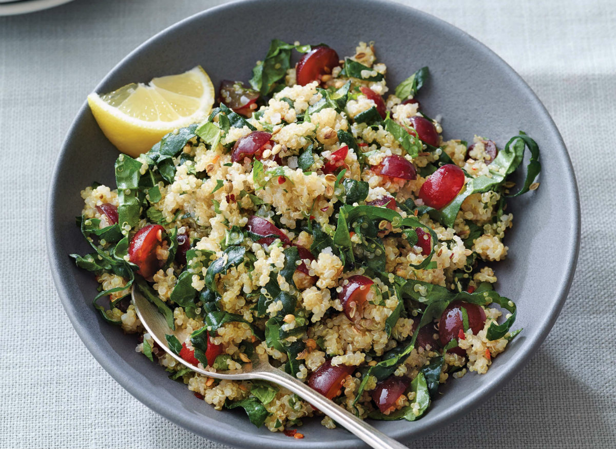 Quinoa Kale Salad with Red Grapes - Rebecca Katz