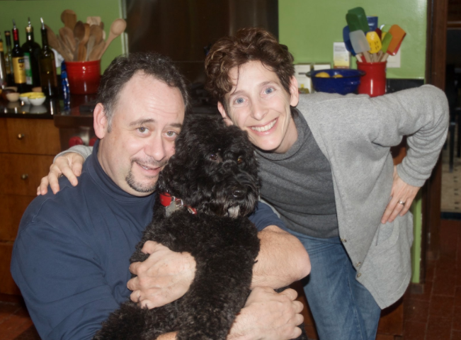 Me, Mat, and our faithful, carrot-loving kitchen assistant, Bella, at the moment we completed the 1st edition on 10/31/2008. My hair isn't blow-dried, I've got no makeup on my face — you know we just pulled an all-nighter! I don't think I could do that anymore...