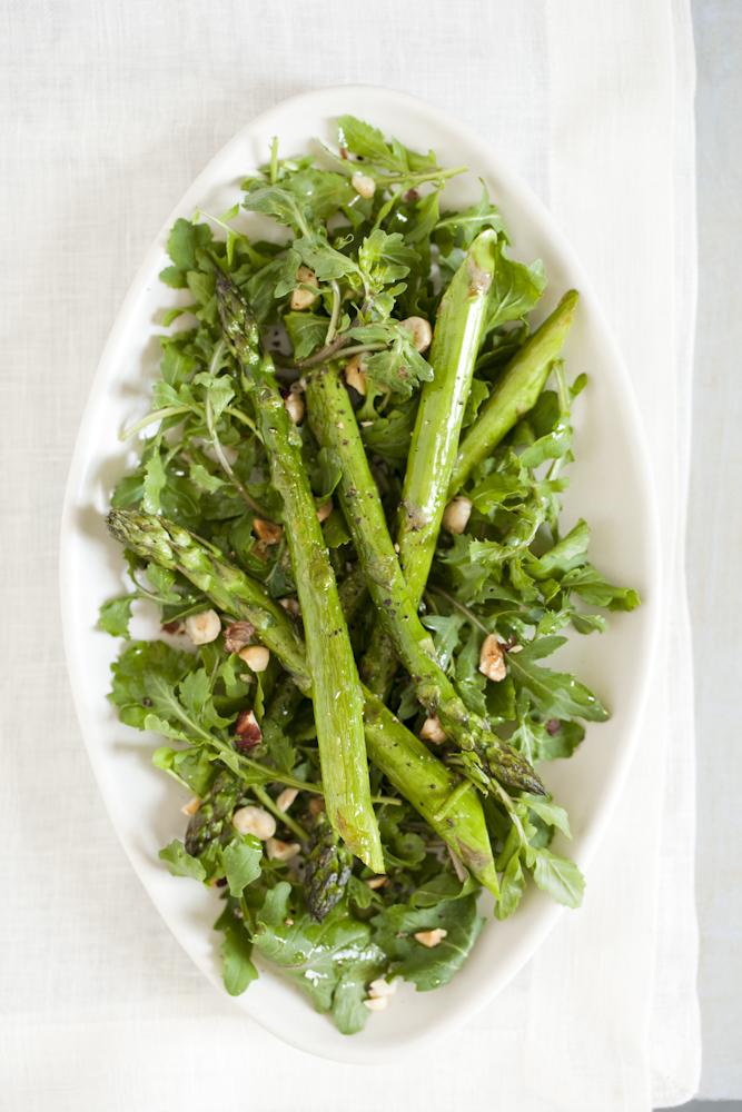Roasted Asparagus Salad with Arugula and Hazelnuts - Rebecca Katz