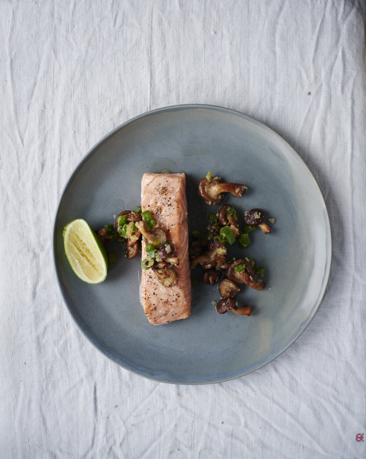 Roasted Salmon Topped with Sake-Glazed Shiitakes