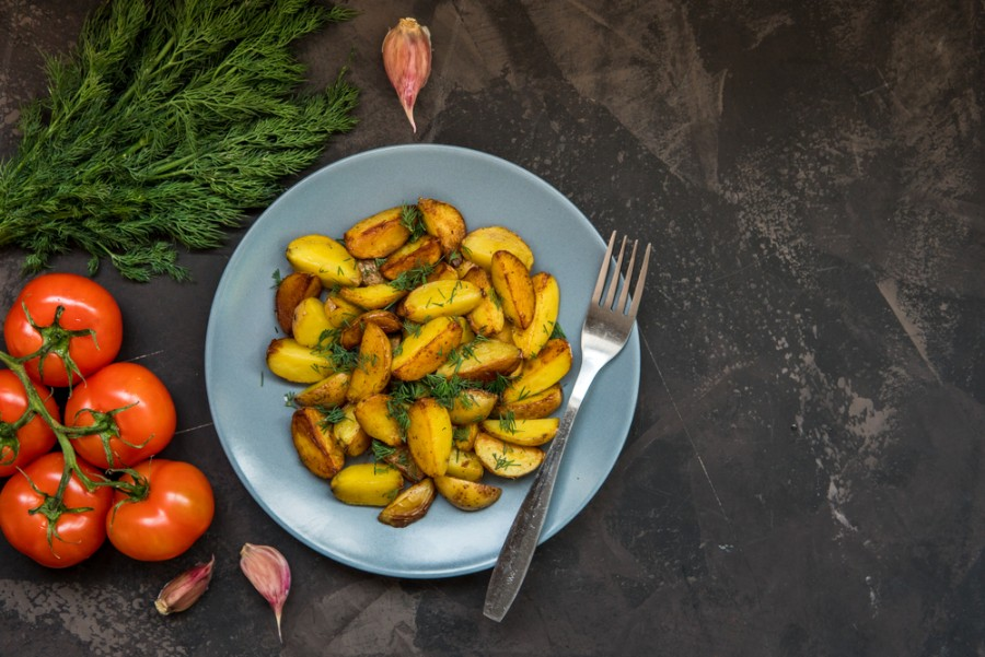 Roasted fingerling potatoes with pesto