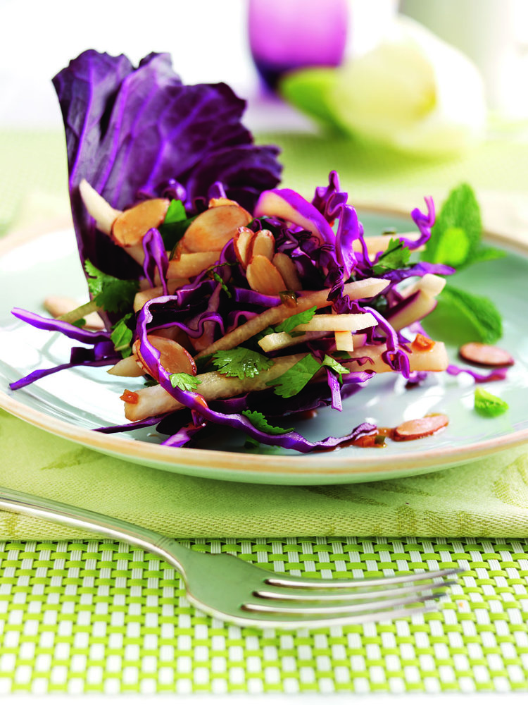 Jicama Cabbage Salad with Mint and Cilantro Tossed with Sweet and Sour Asian Dressing - Rebecca Katz