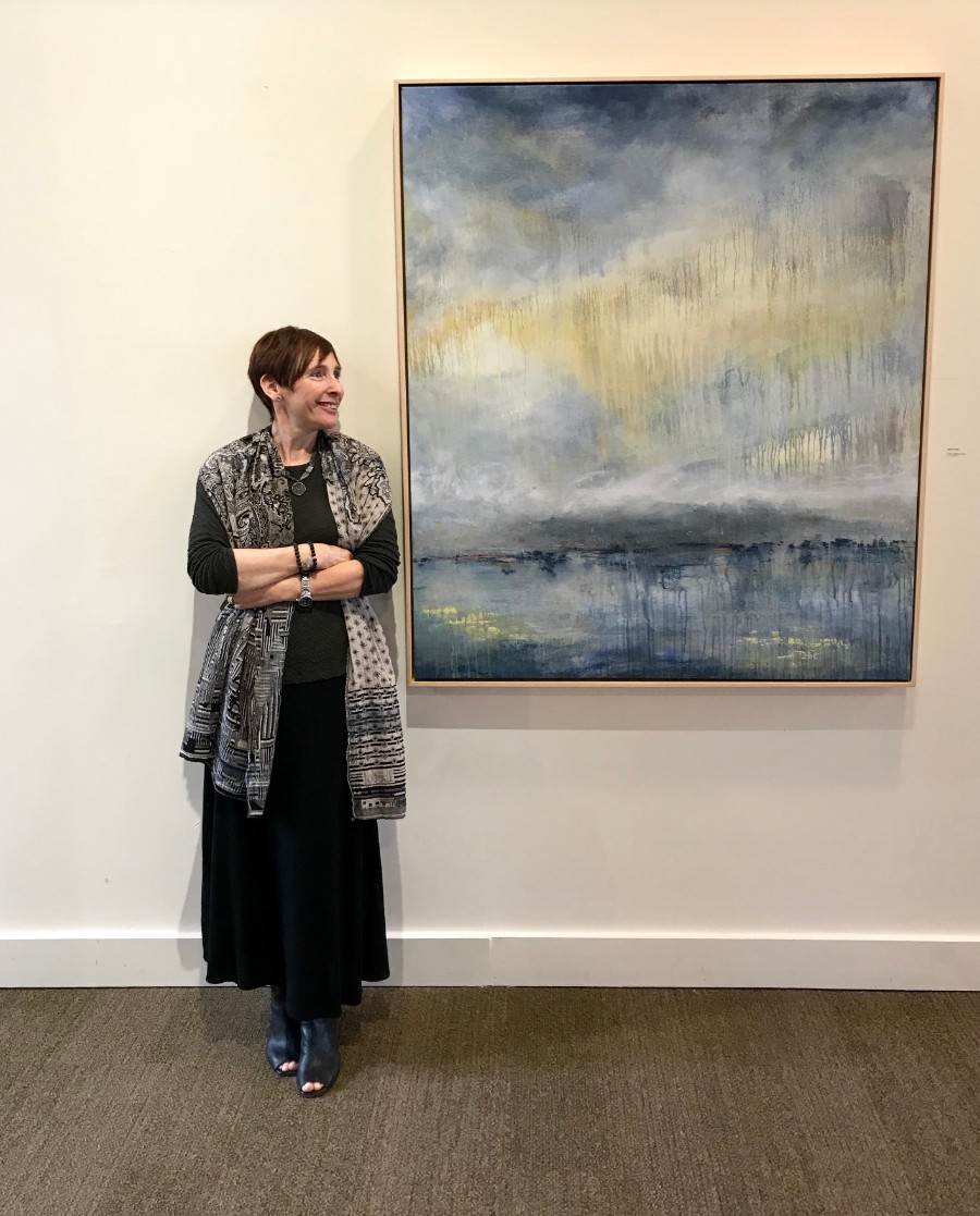 Me with my painting Summer Solstice, Commonweal, August 2019