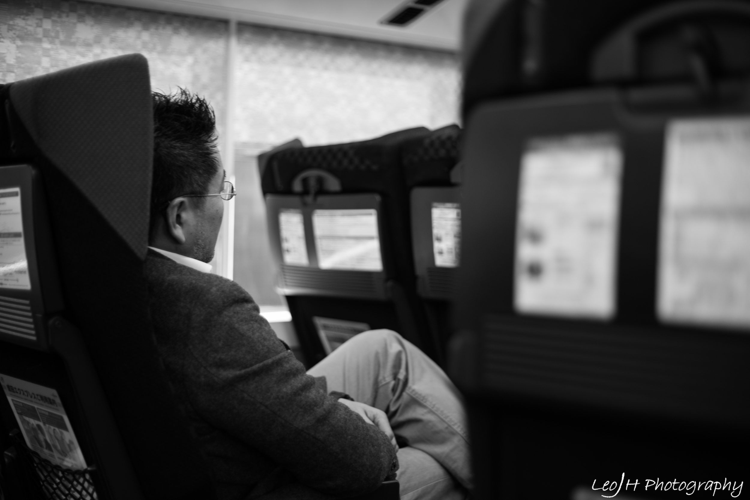 Aboard the Narita Express into Tokyo
