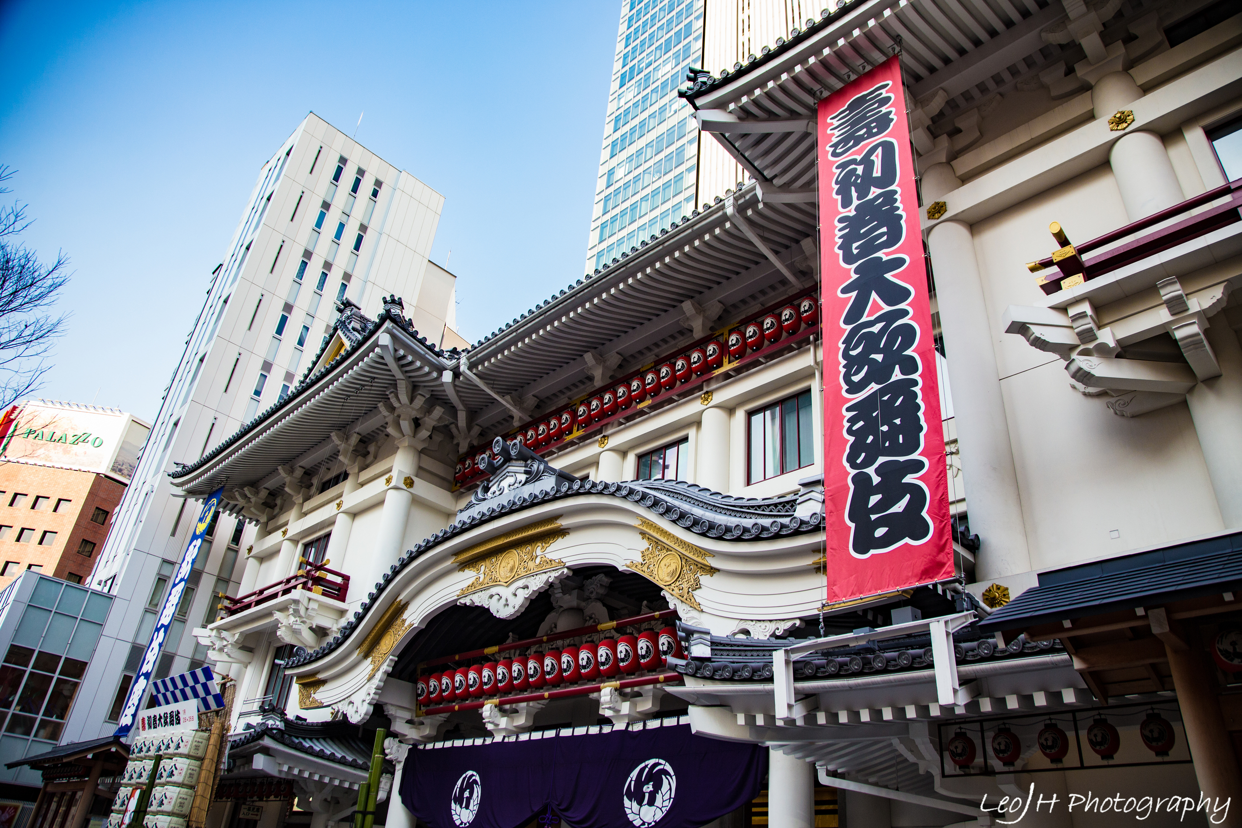 Huge kabuki theatre in the middle of GInza, standing in strong contrast to the tall modern buildings around it.