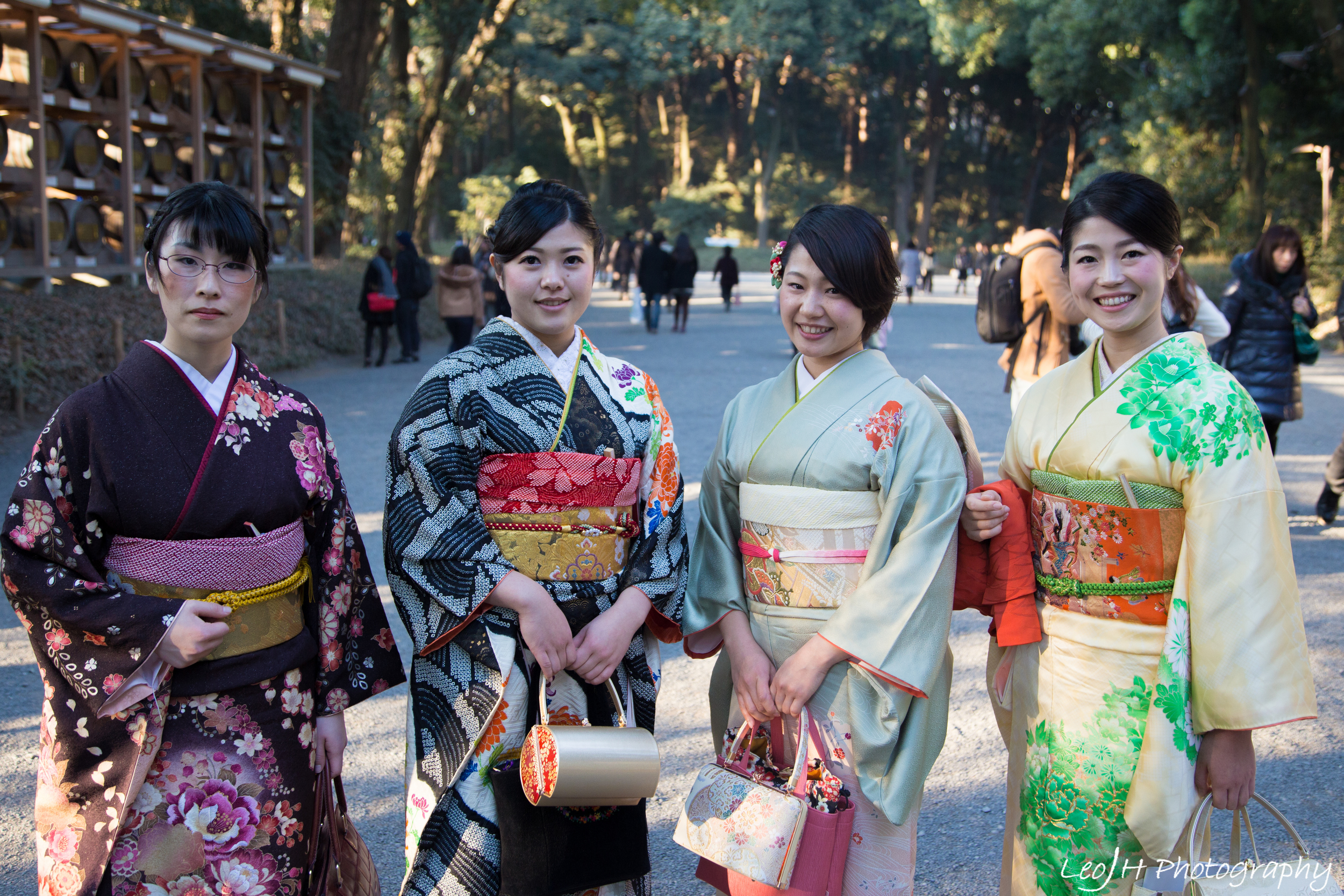 A group of ladies in traditional outfits spotted on the way to the shrine