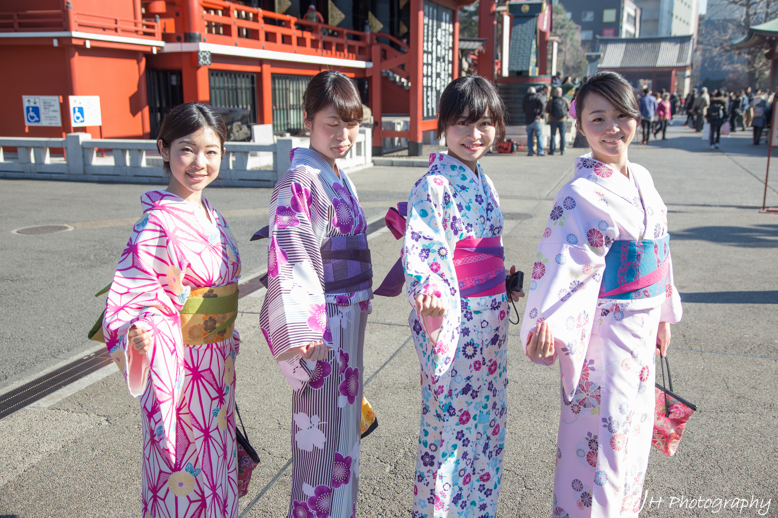 Ladies in traditional Japanese outfits at Senso-ji