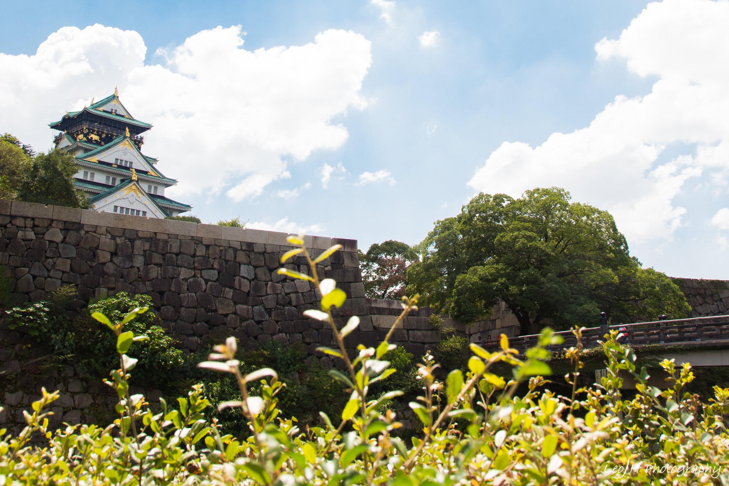 Osaka Castle as seen from opposite the moat
