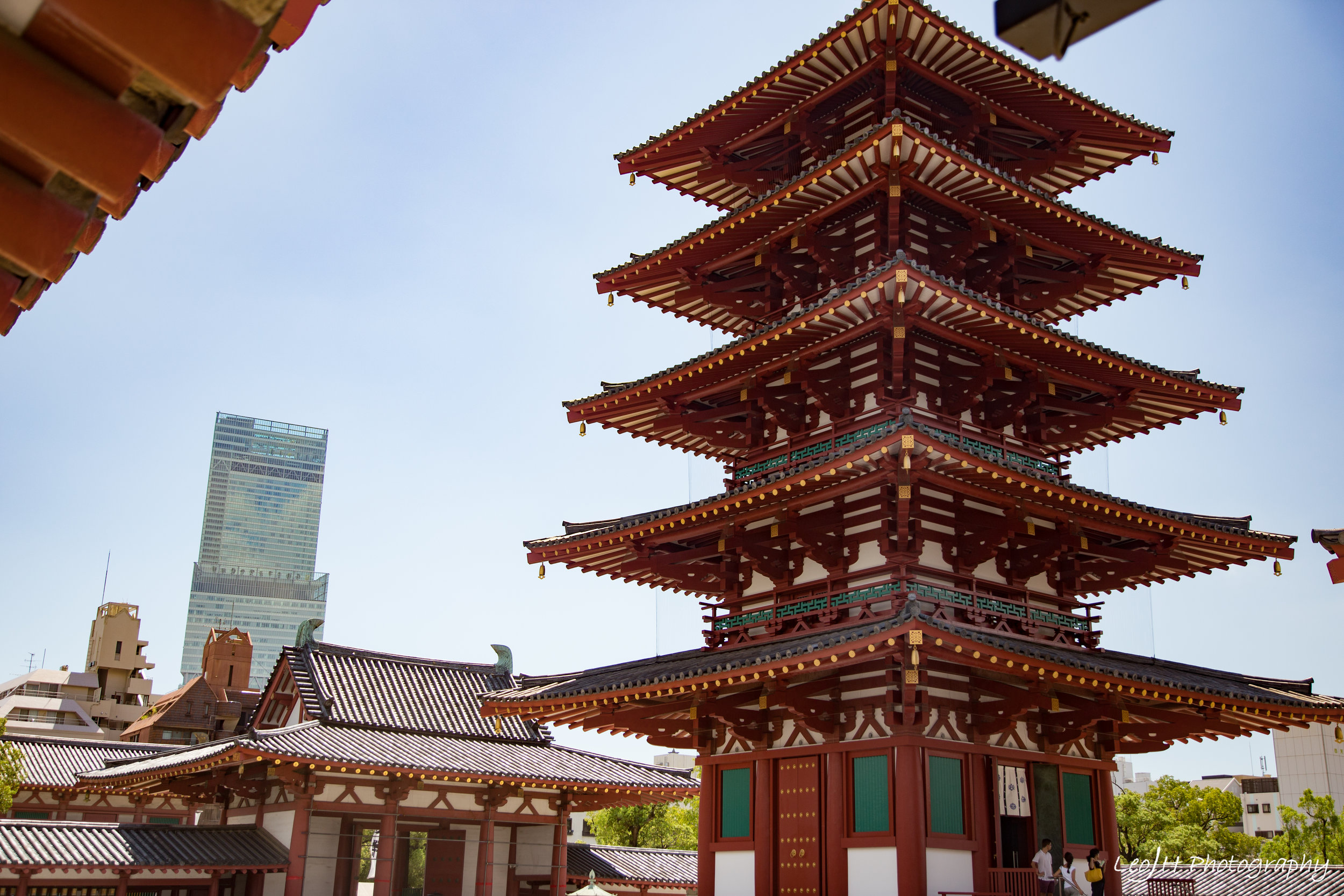 The center of Shittennoji Temple, with the 5-storey pagoda