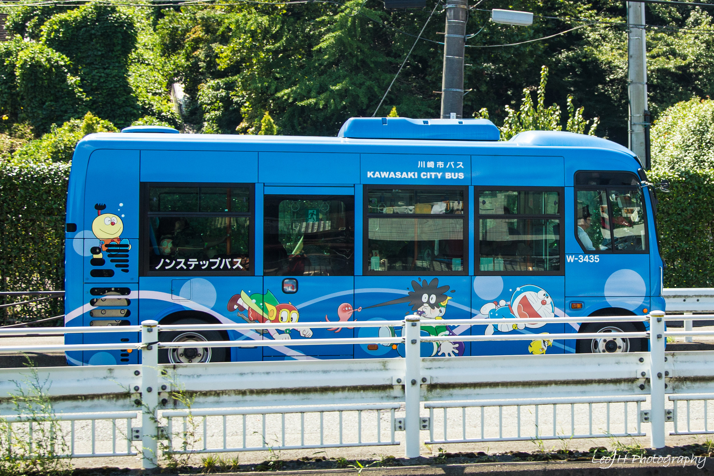 The shuttle bus to Doraemon Museum, cutely decorated with characters