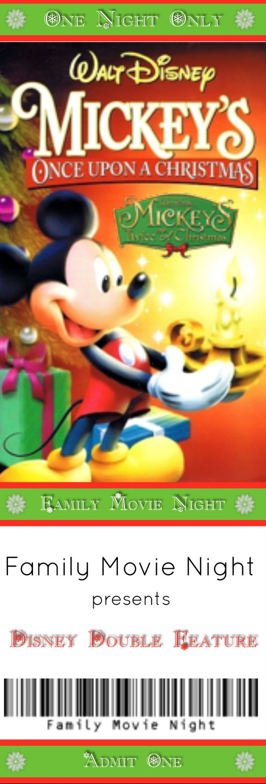 Mickey S Once Twice Upon A Christmas Movies Menus