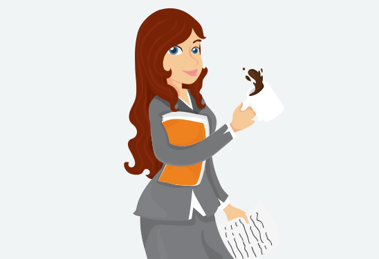 Graphic of women with coffee cup and folder