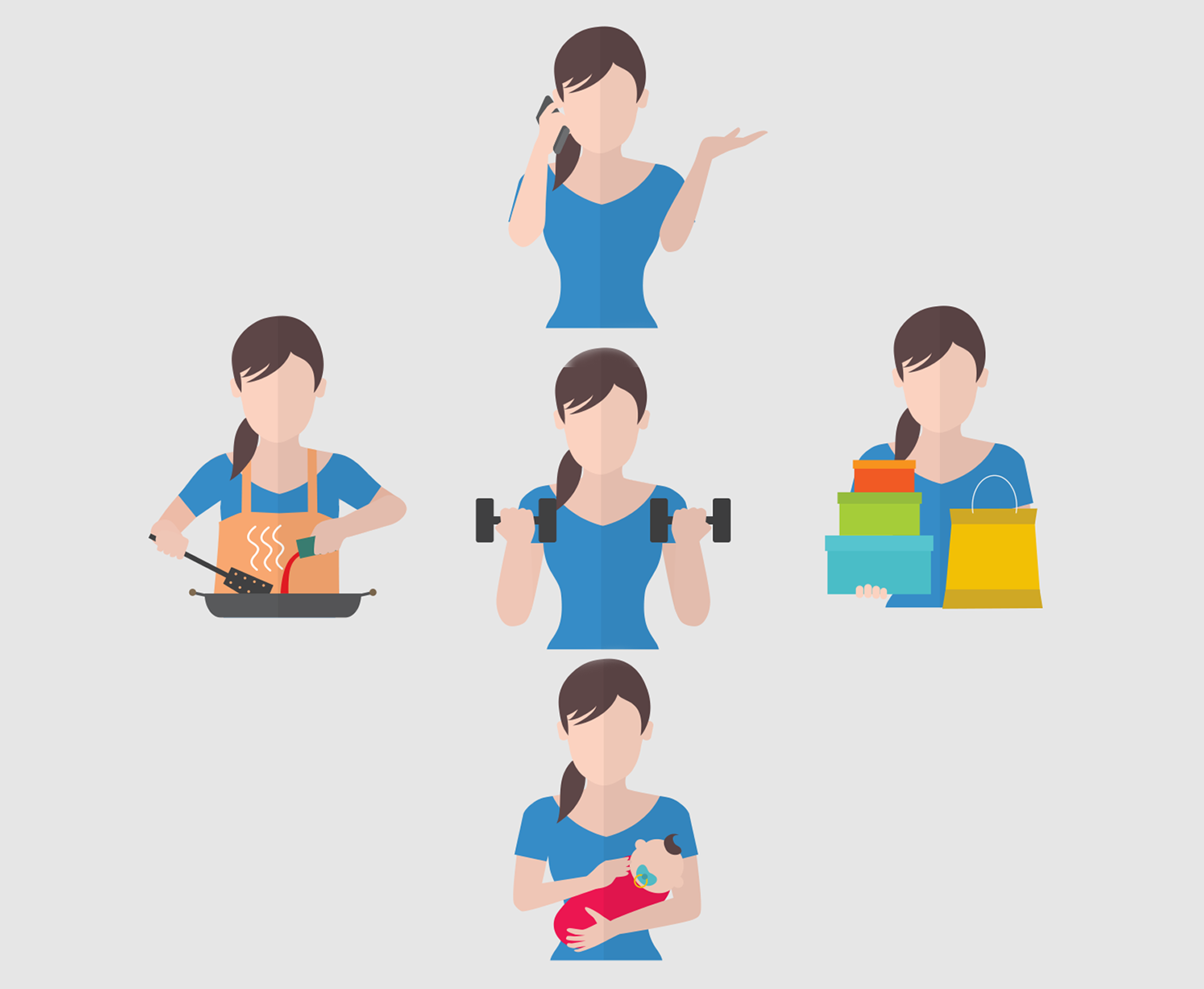 Graphic of 5 women doing different tasks