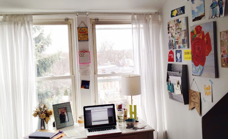 I am thankful for an attic with a beautiful view of the city, and the perfect desk nook.