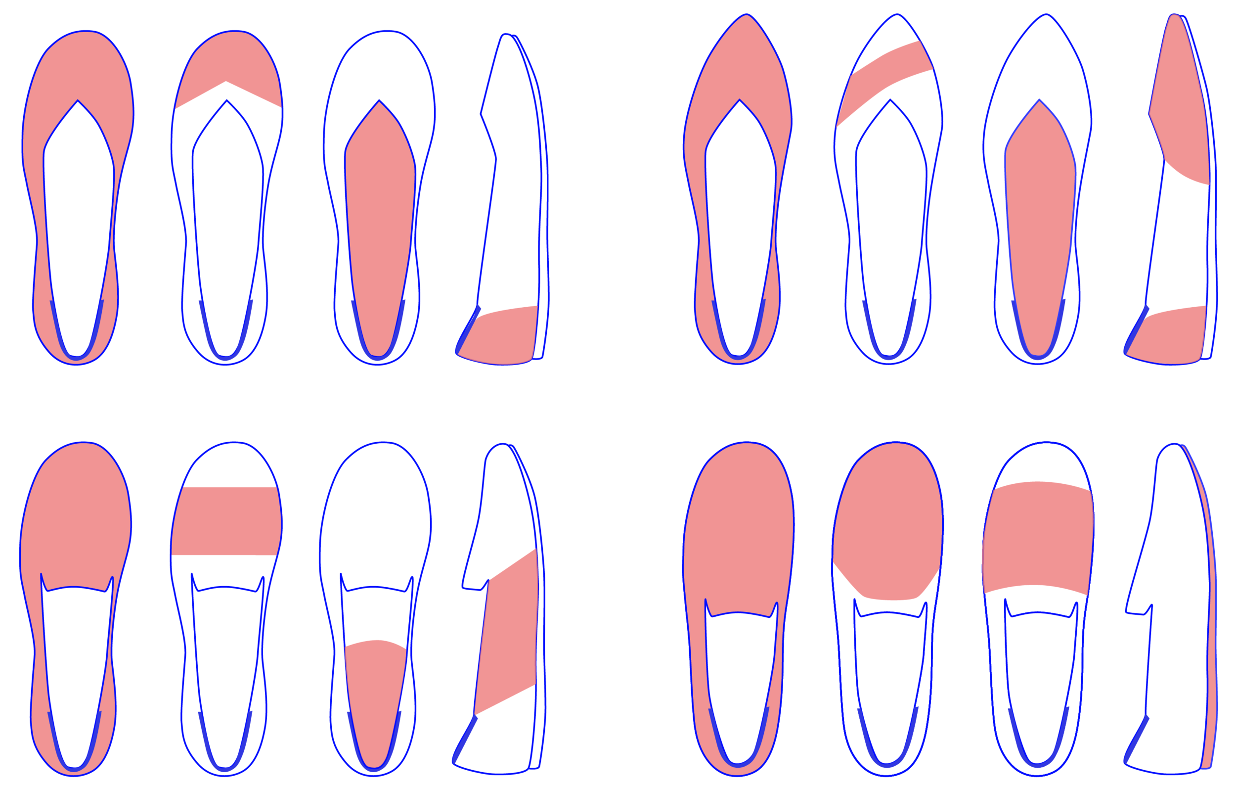 blocking concepts for four existing Rothy's shoe styles