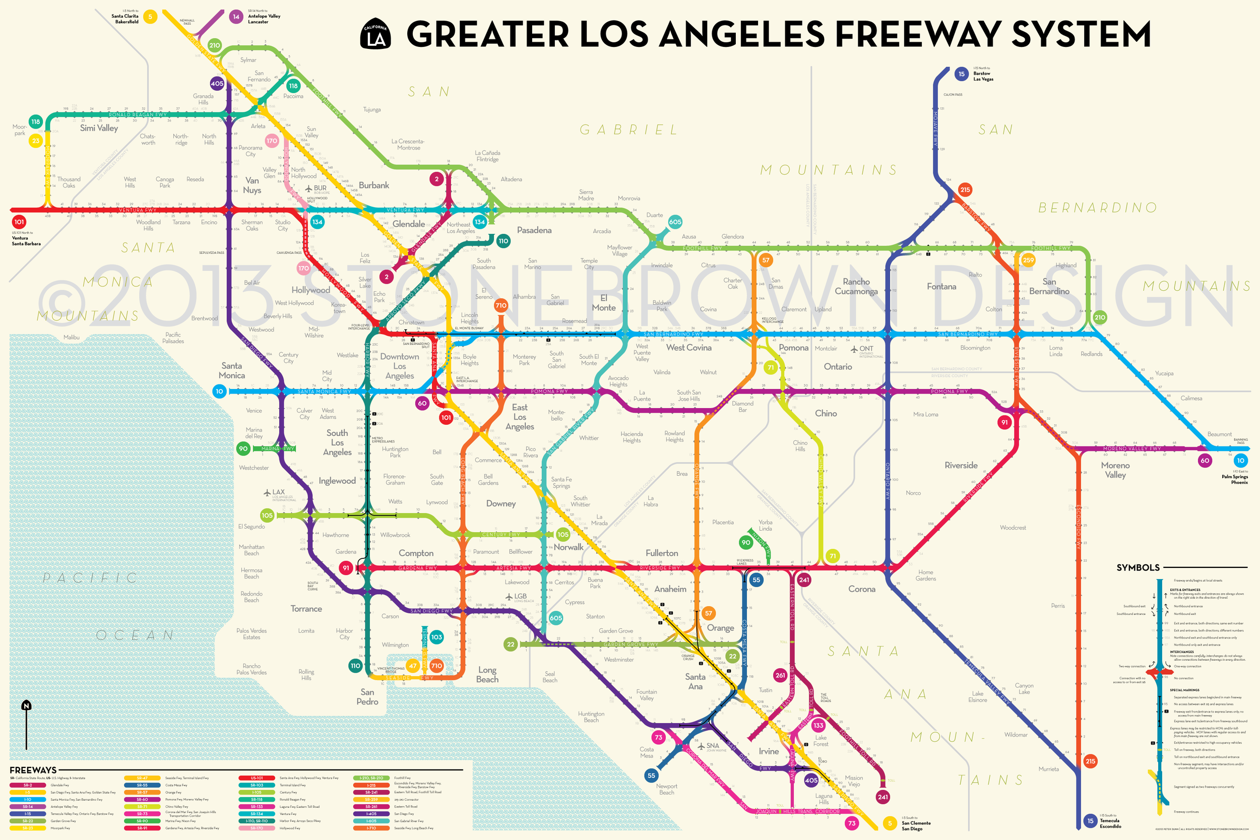 Figure 3- Los Angeles stylized freeway map, by Peter Dunn (Stonebrown Designs)
