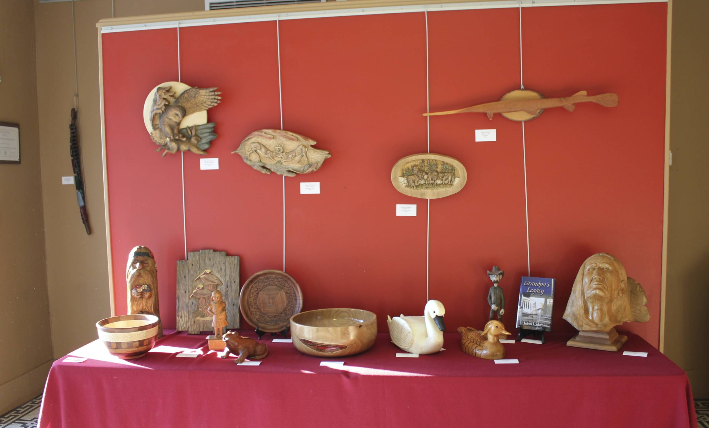 Some of the Wood Guild works displayed in the Dixie Center Lobby.