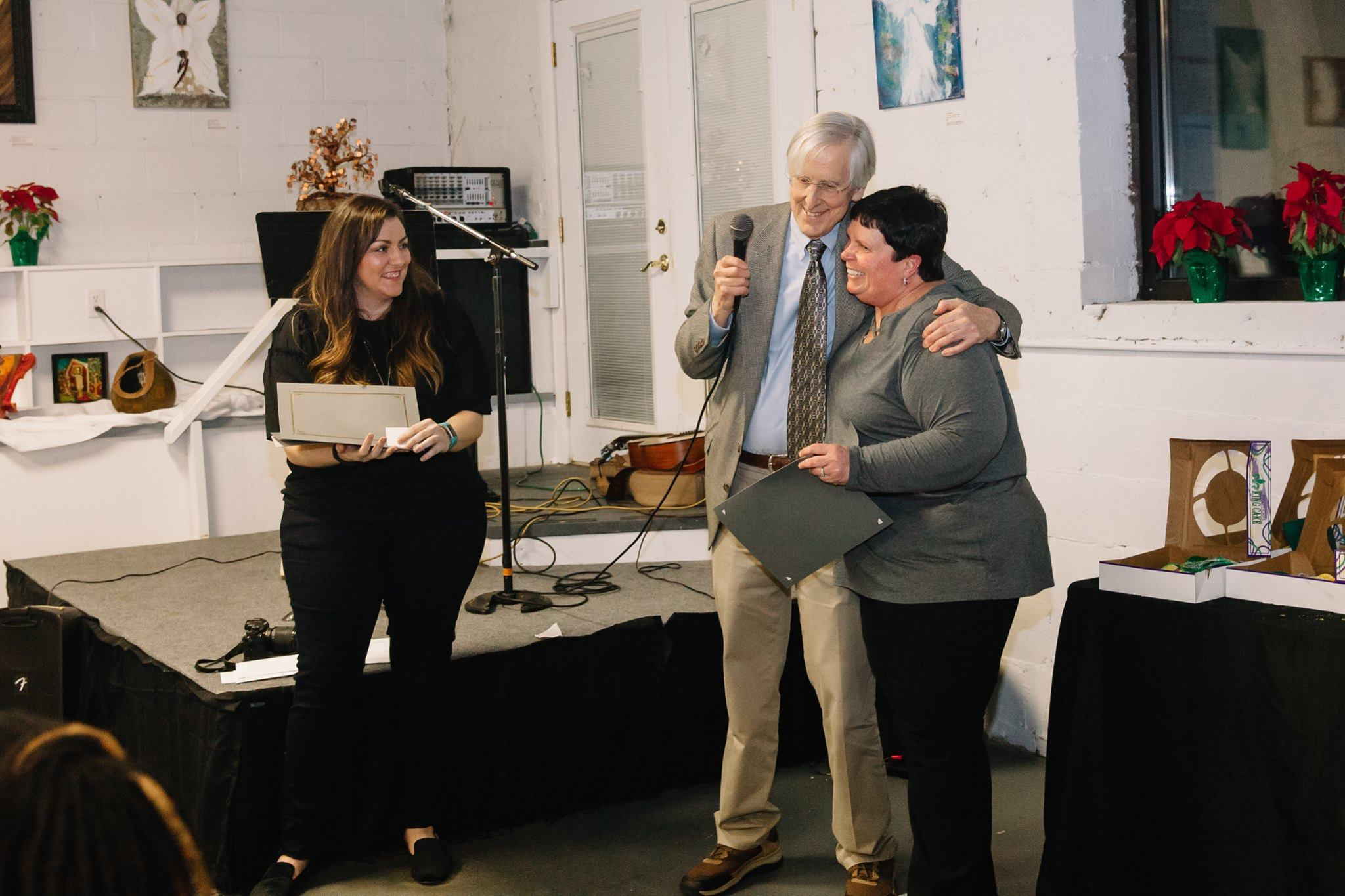 Pictured from Left to Right: Cara Beth Buie, Peter Jones, and Cathi Cox- Bonoil at the NCLAC annual membership meeting in January of 2019.
