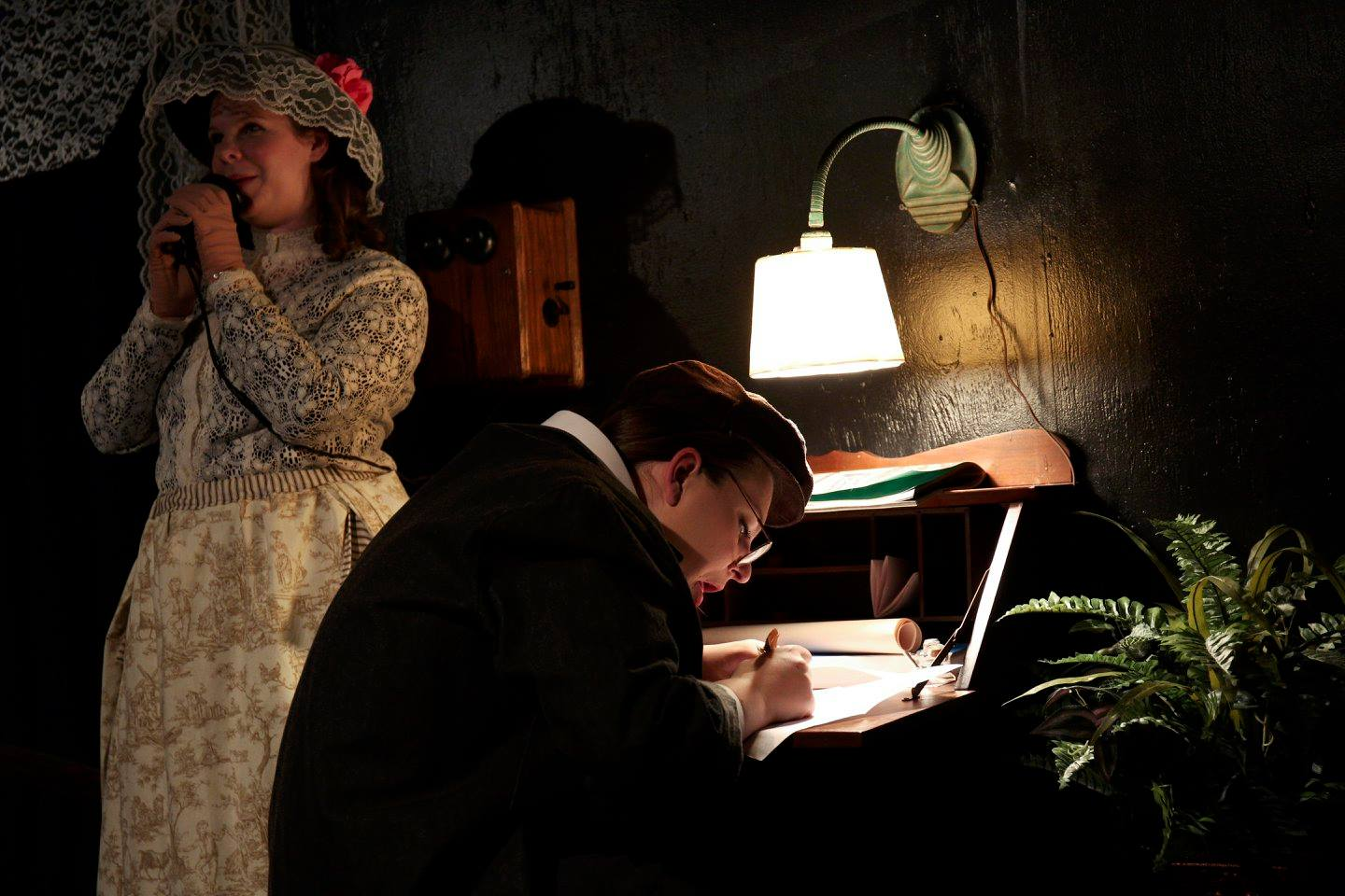 Erin Hanratty as The Girl and Christine Jacobs as The Clerk in Her Vote - Photo Curtis Jordan