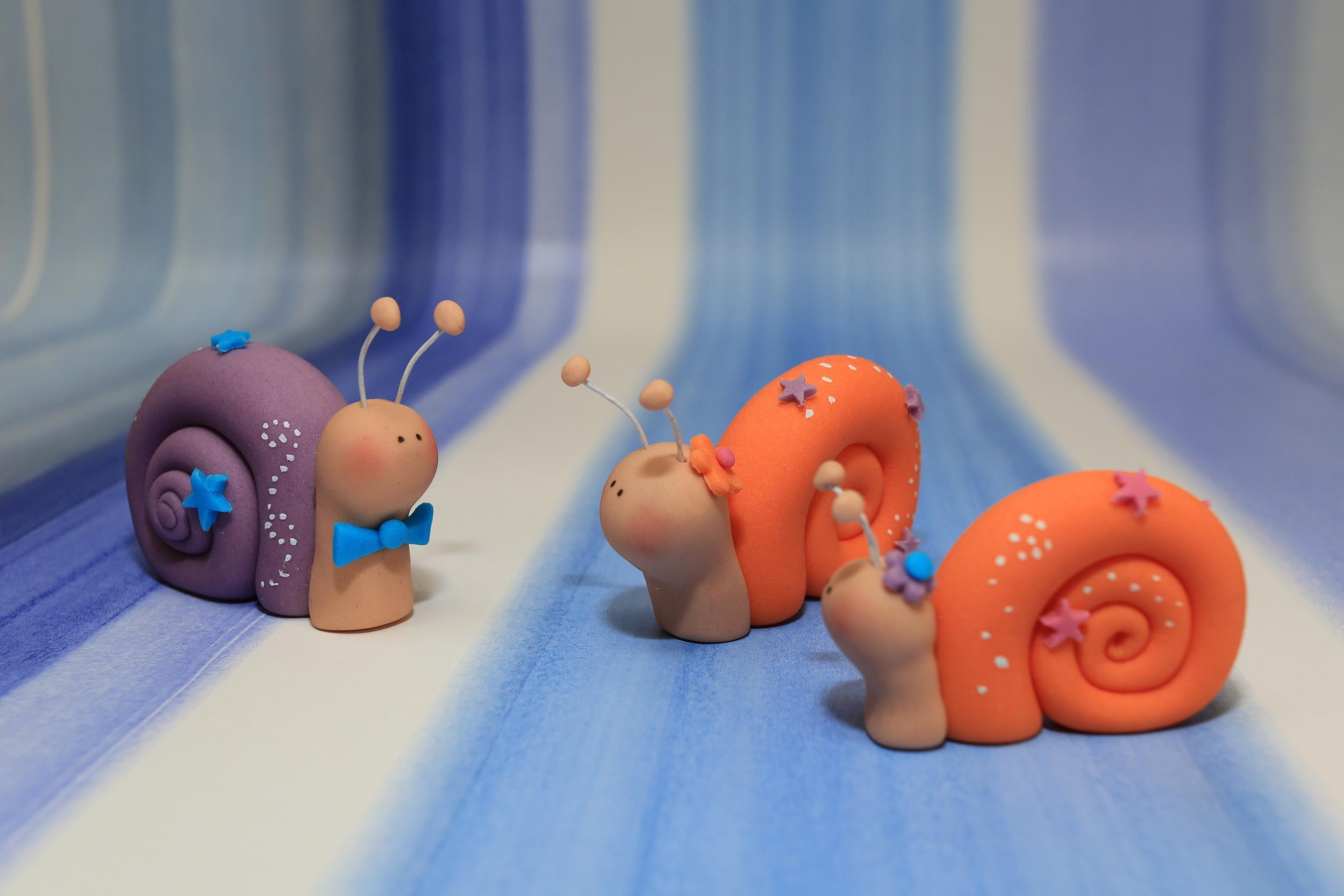 Cute Snail Boy Girl Cake Toppers