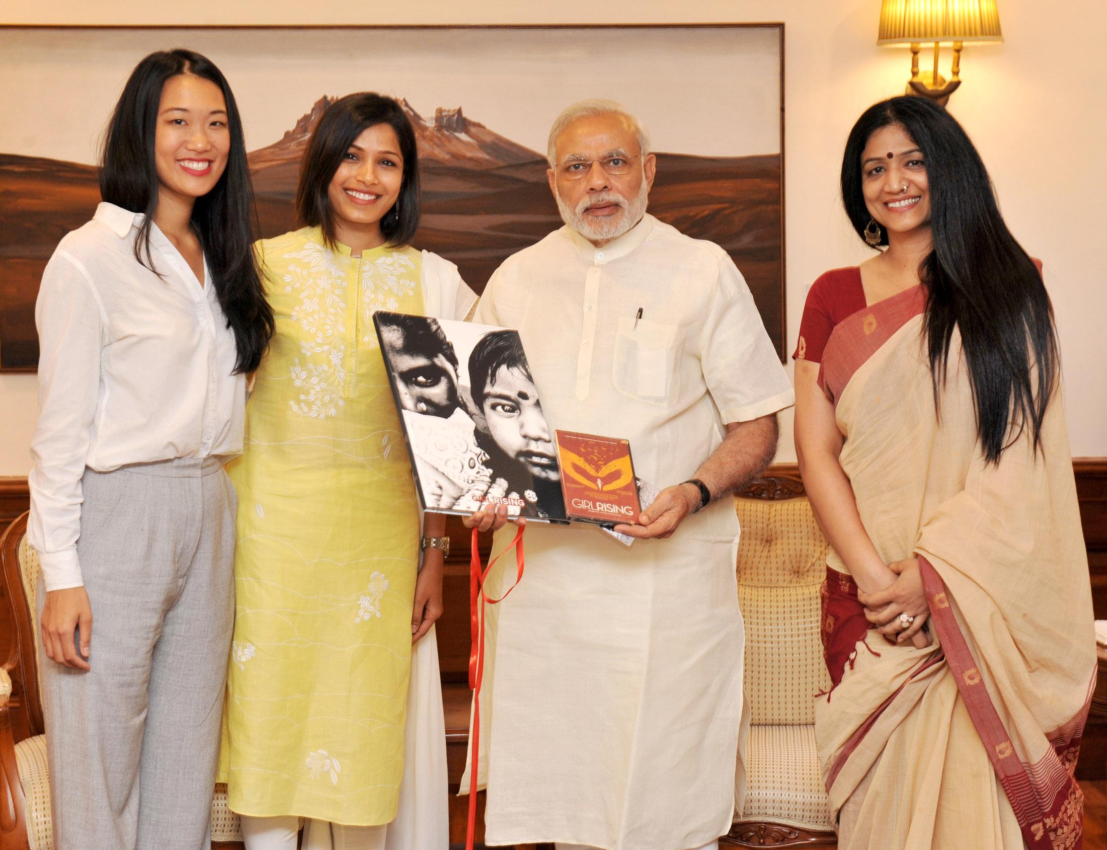 Prime Minister Modi, Freida Pinto, and the Girl Rising Team.