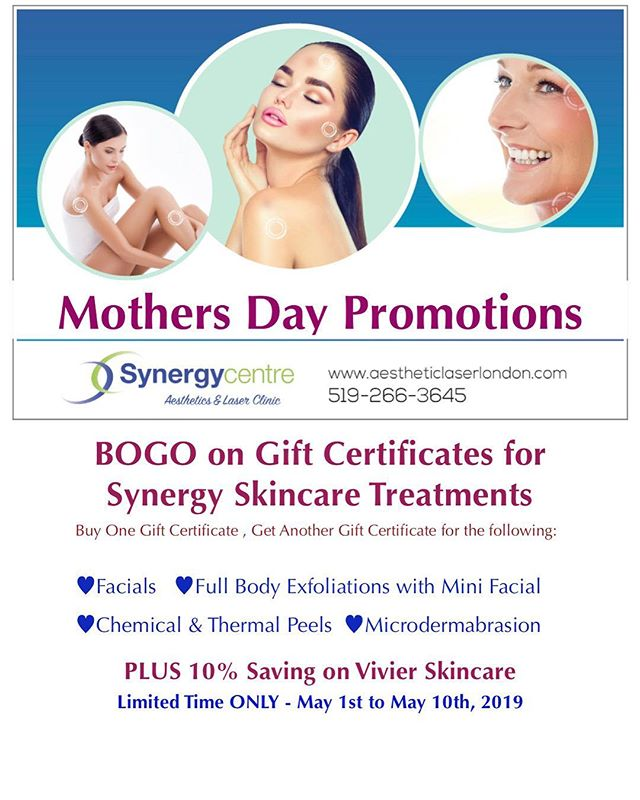 With Mothers Day right around the corner.... BOGO!  Treat mum, treat yourself to a well deserved pampering! @synergycentre @synergyaestheticlaser #mothersday #londonontario #promo #bogo #pampering #love #microdermabrasion #peels #exfoliate #facial #skincare #welldeserved
