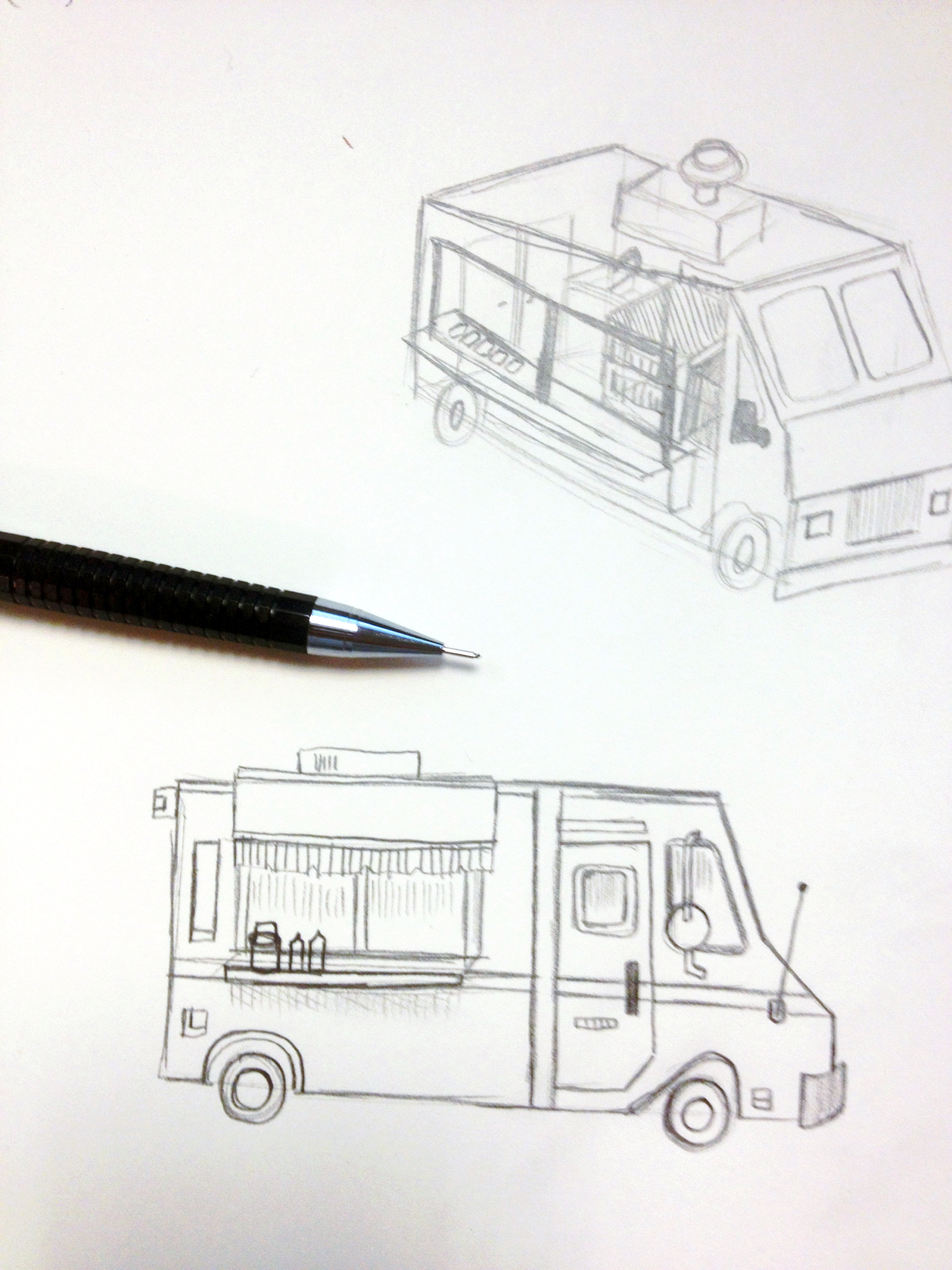 Preliminary sketches for food trucker opener
