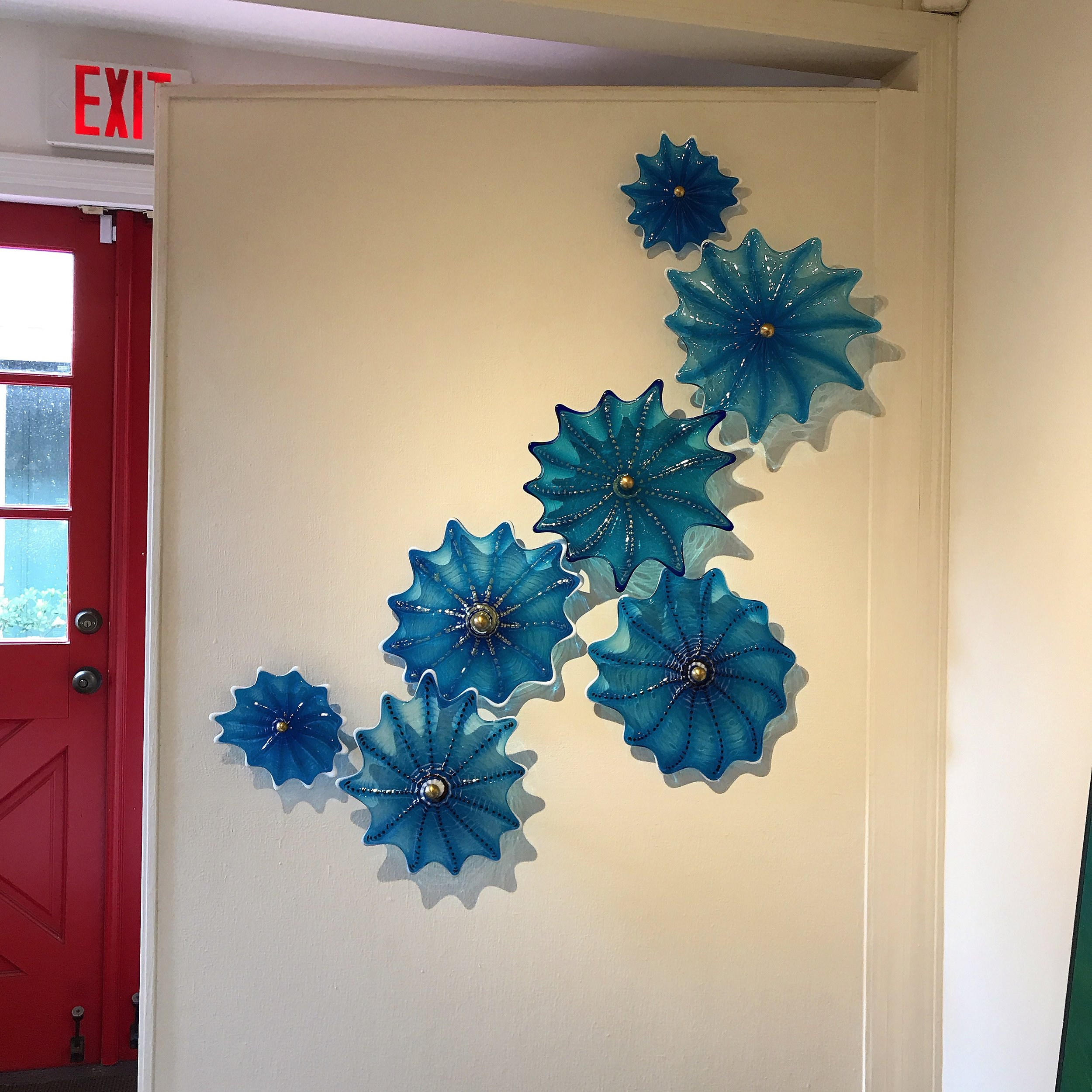 Turquoise Cathedral Rondel Wall Splash,  rick strini,  viewpoints gallery,  maui.